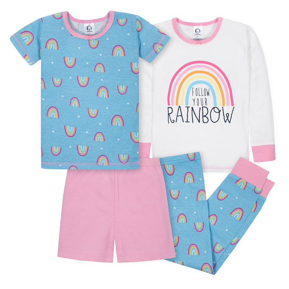 4-Piece Girls Rainbow Snug Fit Pajama Set