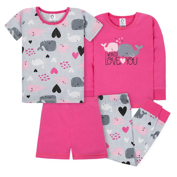 ea601f4709 4-Piece Girls Whales Snug Fit Pajama Set – Gerber Childrenswear