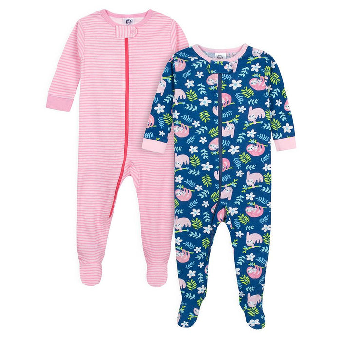 e6280bf2b35c 2-Pack Baby Girls Sloths Snug Fit Footed Pajamas – Gerber Childrenswear