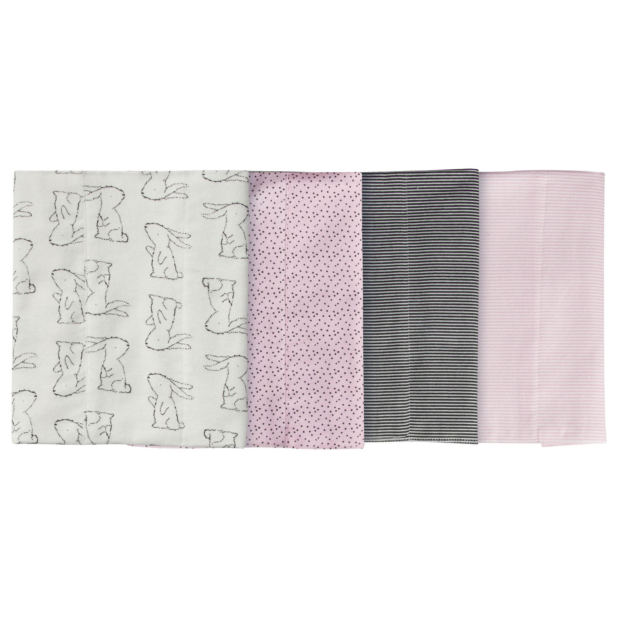4-Pack Girls Bunny Flannel Burp Cloths