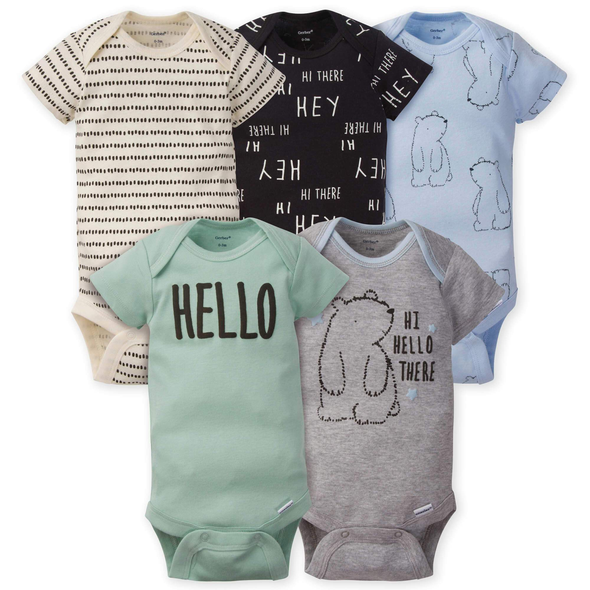 5-Pack Boys Bear Onesies Brand Short Sleeve Bodysuits