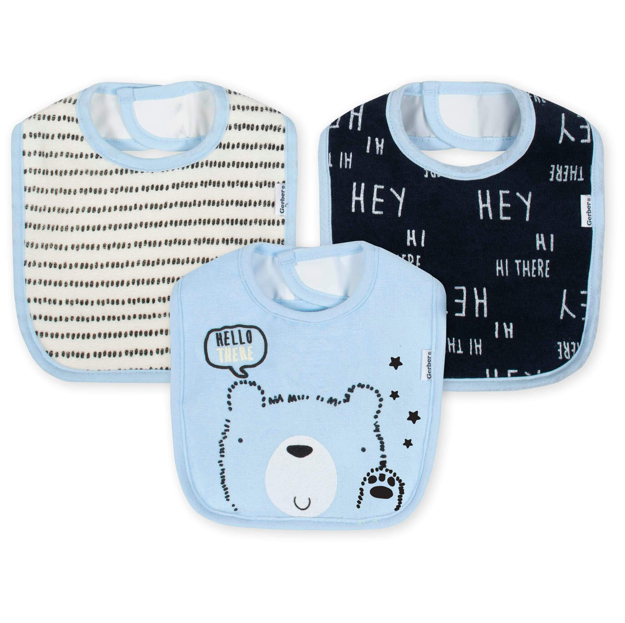 3-Pack Boys Bear Terry Bibs