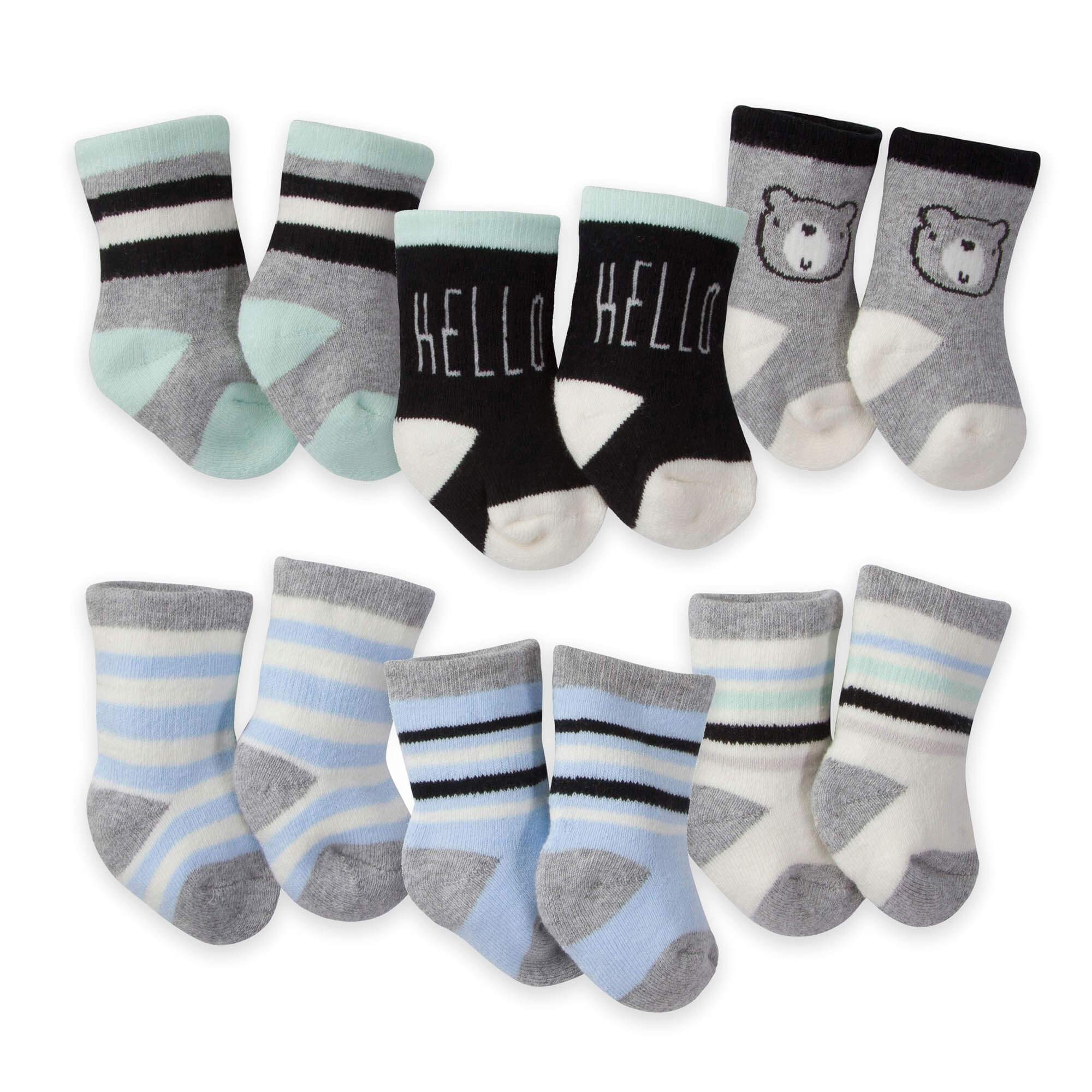 6-Pack Boys Bear Wiggle Proof Terry Crew Socks
