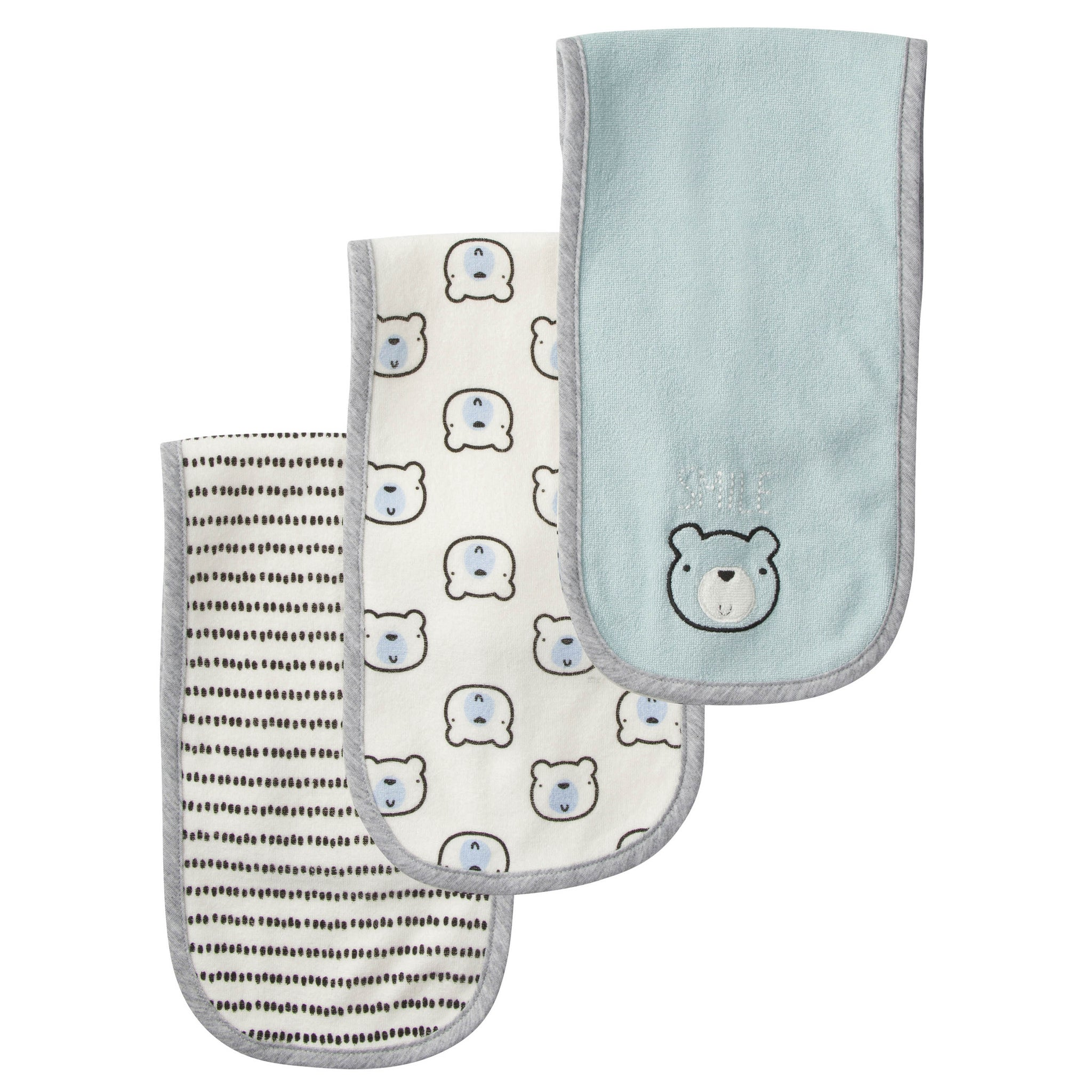 Gerber® 3-Pack Boys Bear Terry Burp Cloths-Gerber Childrenswear