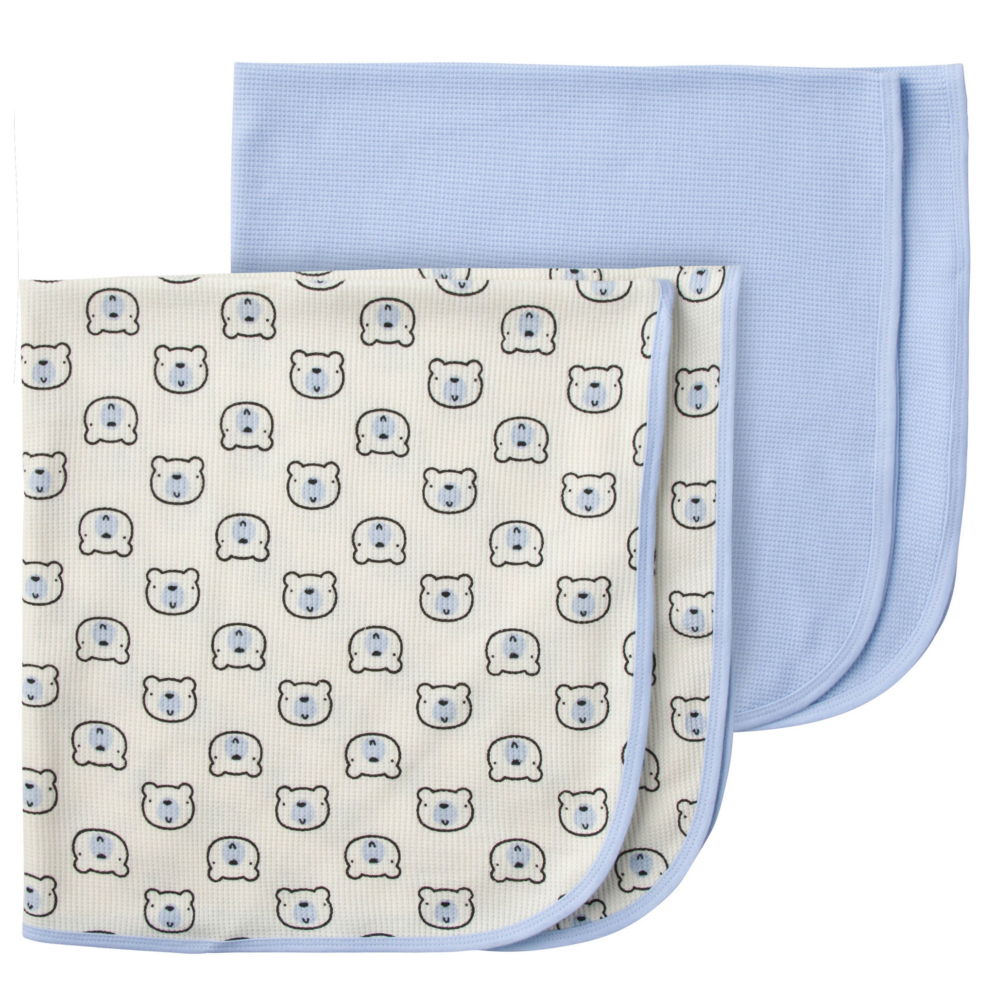2-Pack Boys Bear Thermal Receiving Blankets