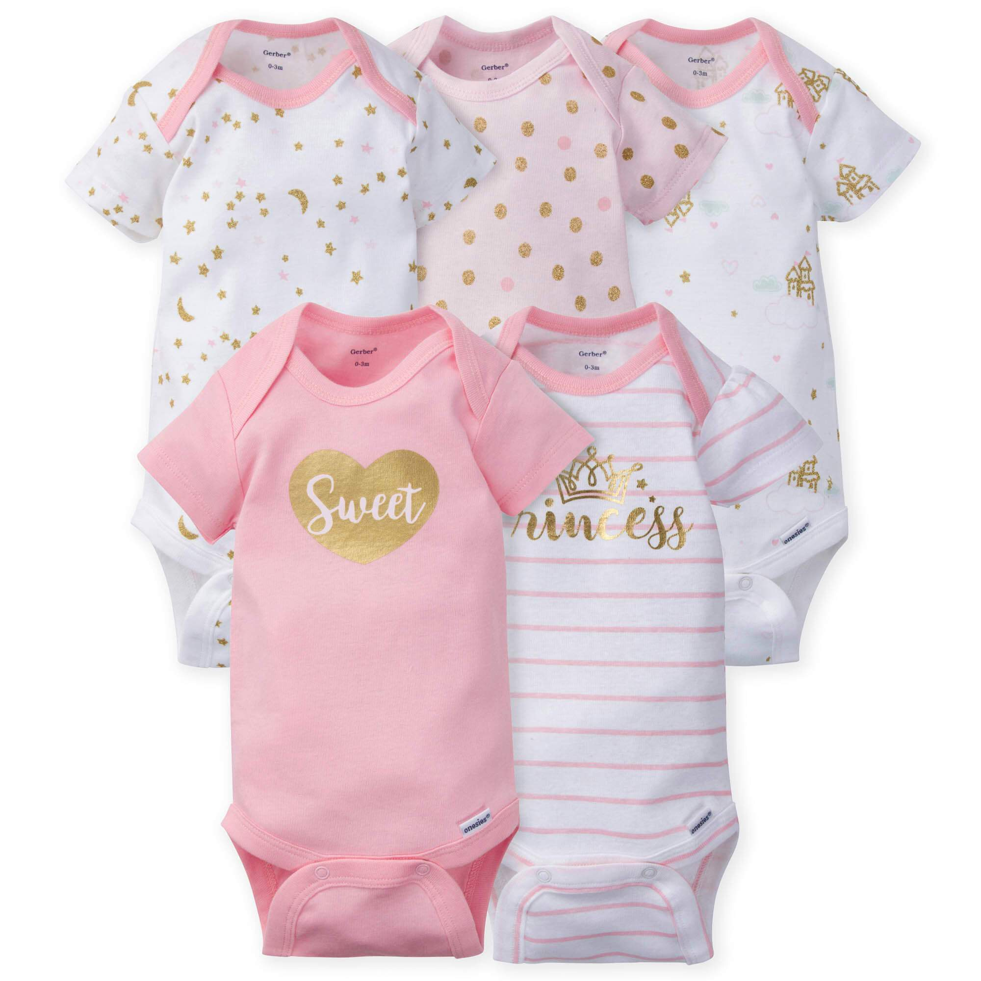 5-Pack Girls Princess Castle Onesies Brand Short Sleeve Bodysuits-Gerber Childrenswear