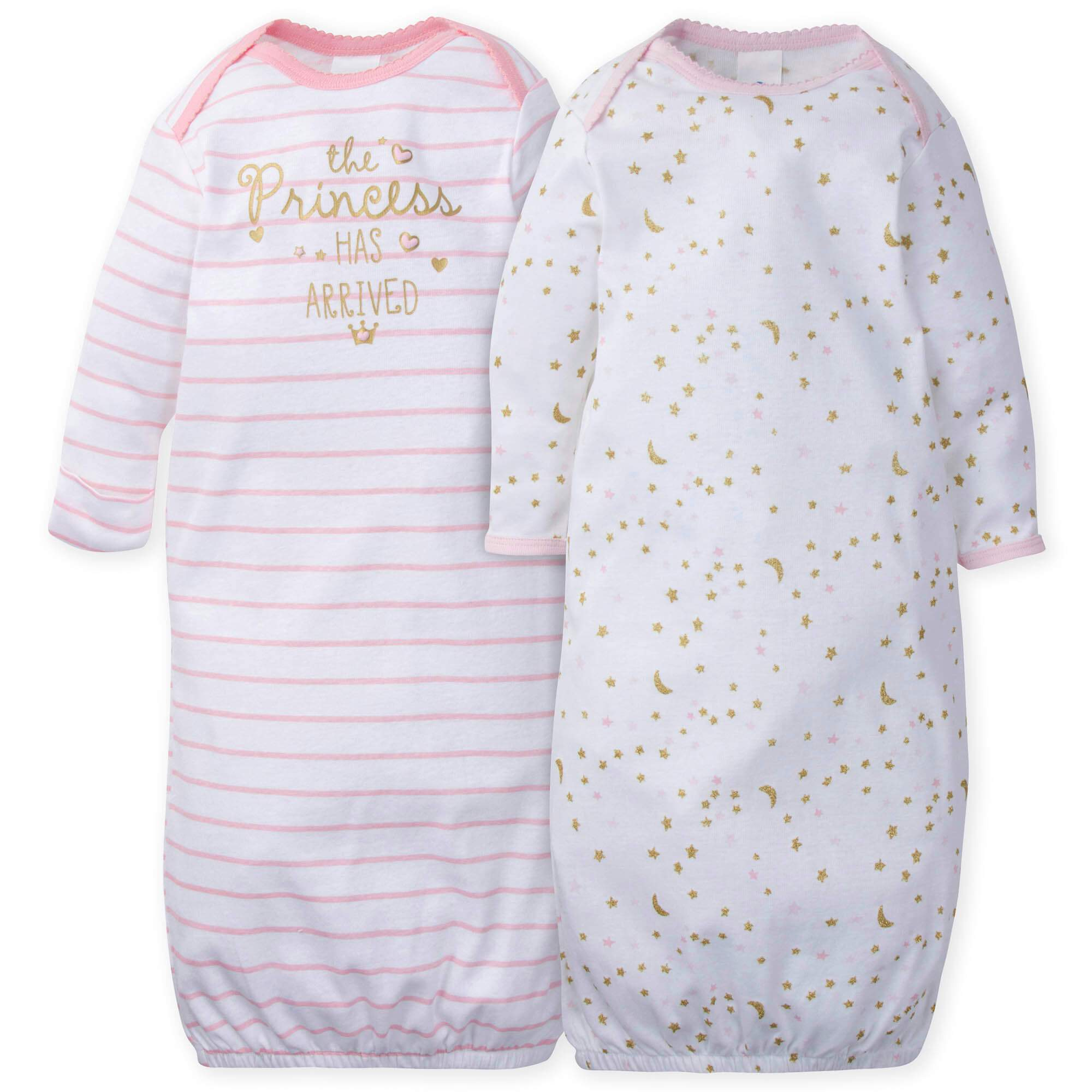 2-Pack Girls Princess Castle Mitten Cuff Gowns-Gerber Childrenswear