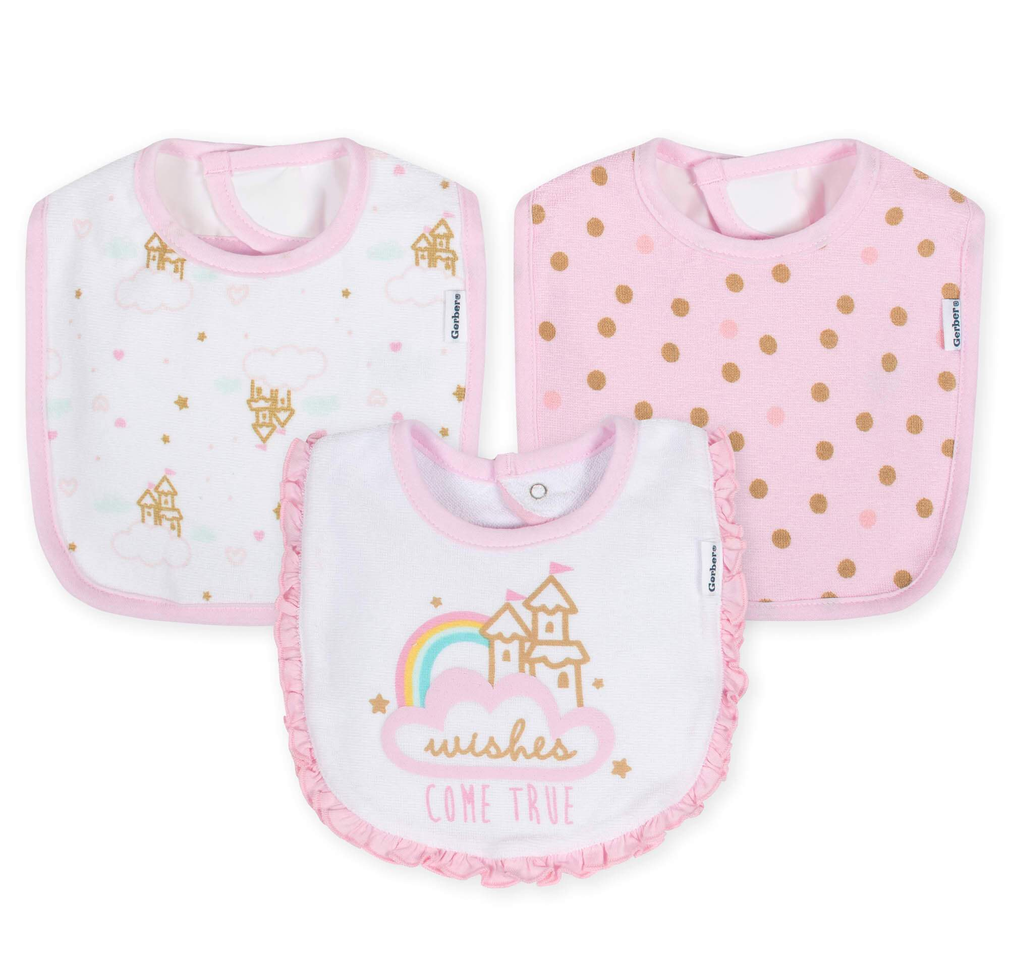 3-Pack Girls Princess Castle Terry Bibs
