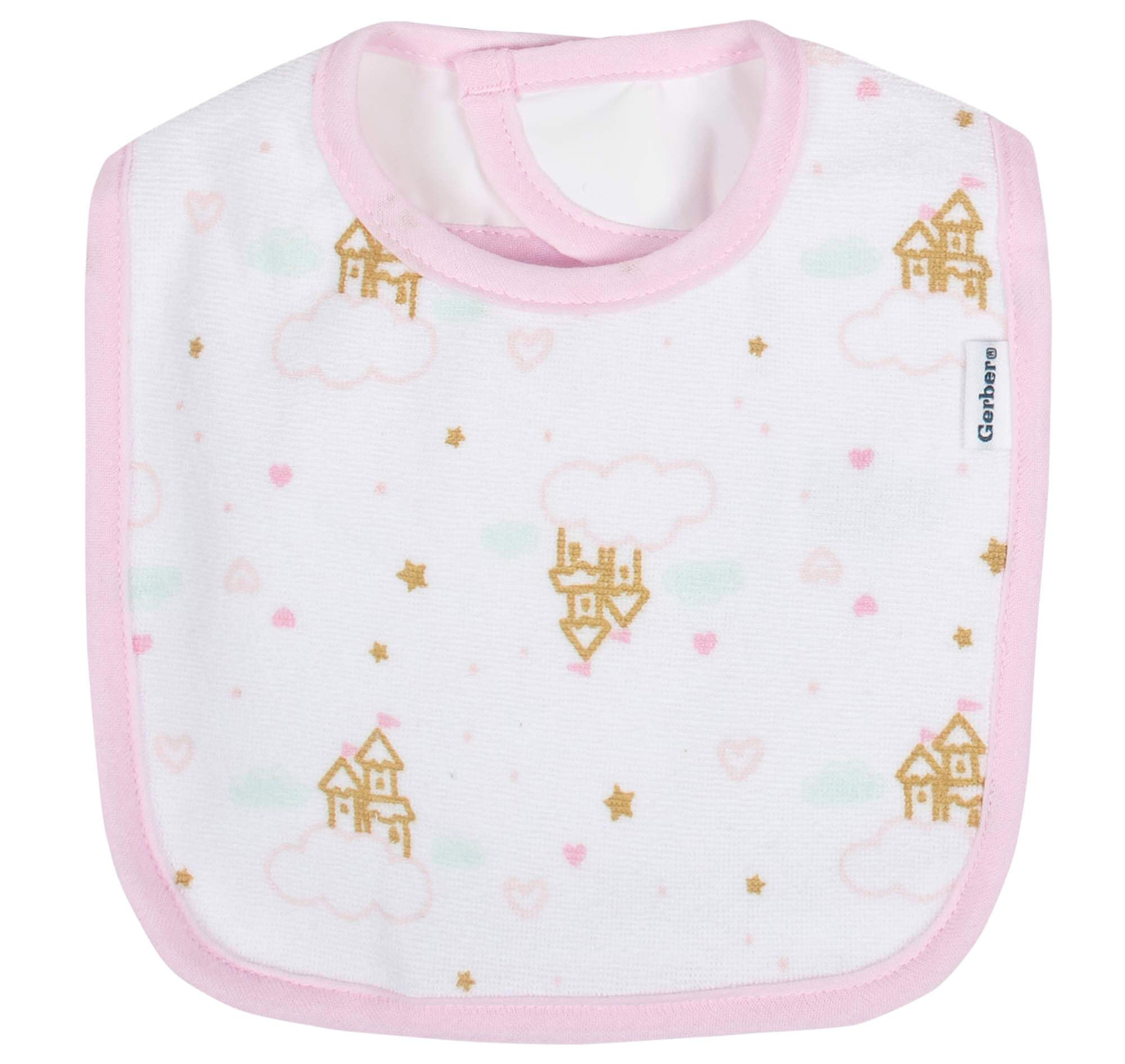 Gerber® 3-Pack Girls Princess Castle Terry Bibs