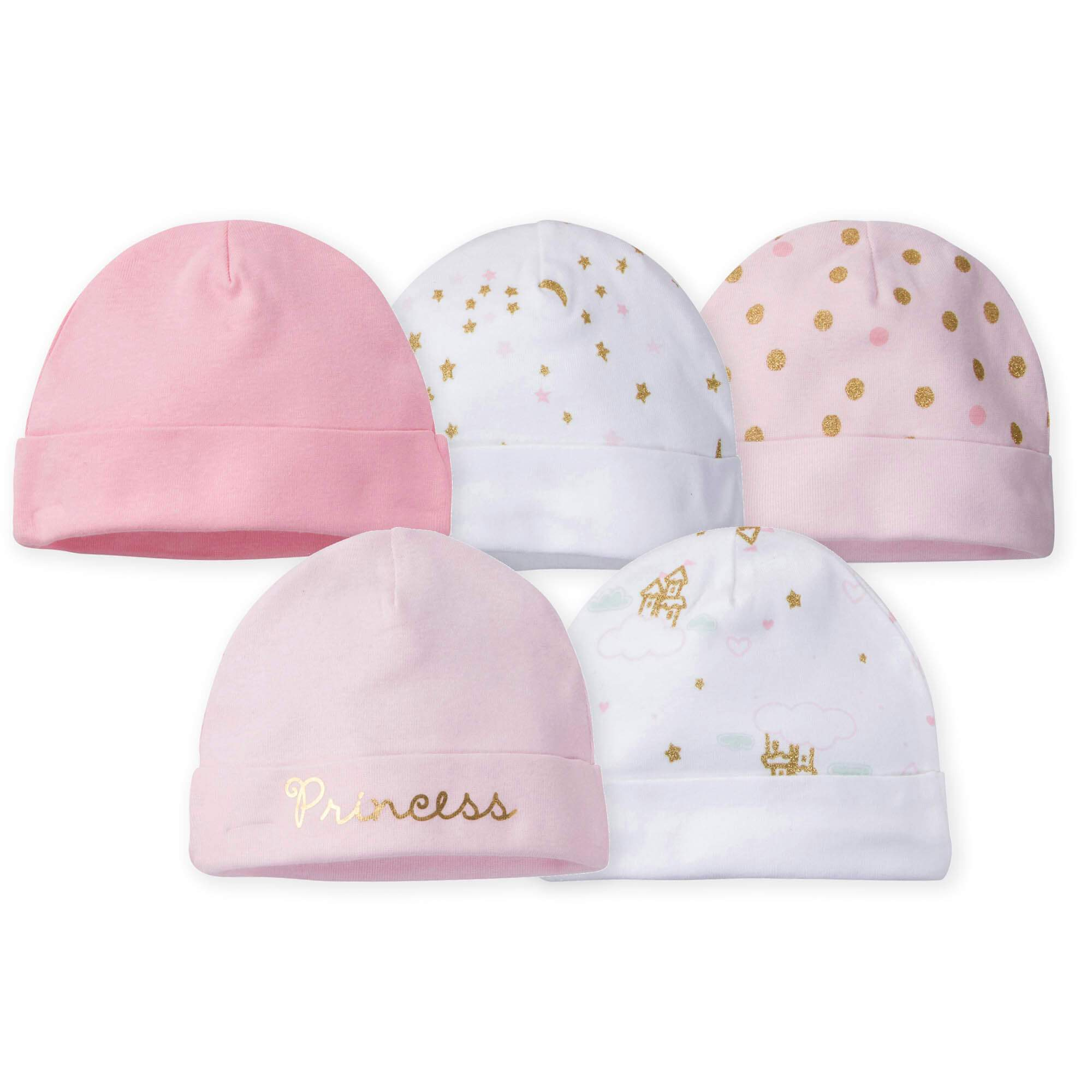 Gerber® 5-Pack Girls Princess Castle Caps-Gerber Childrenswear