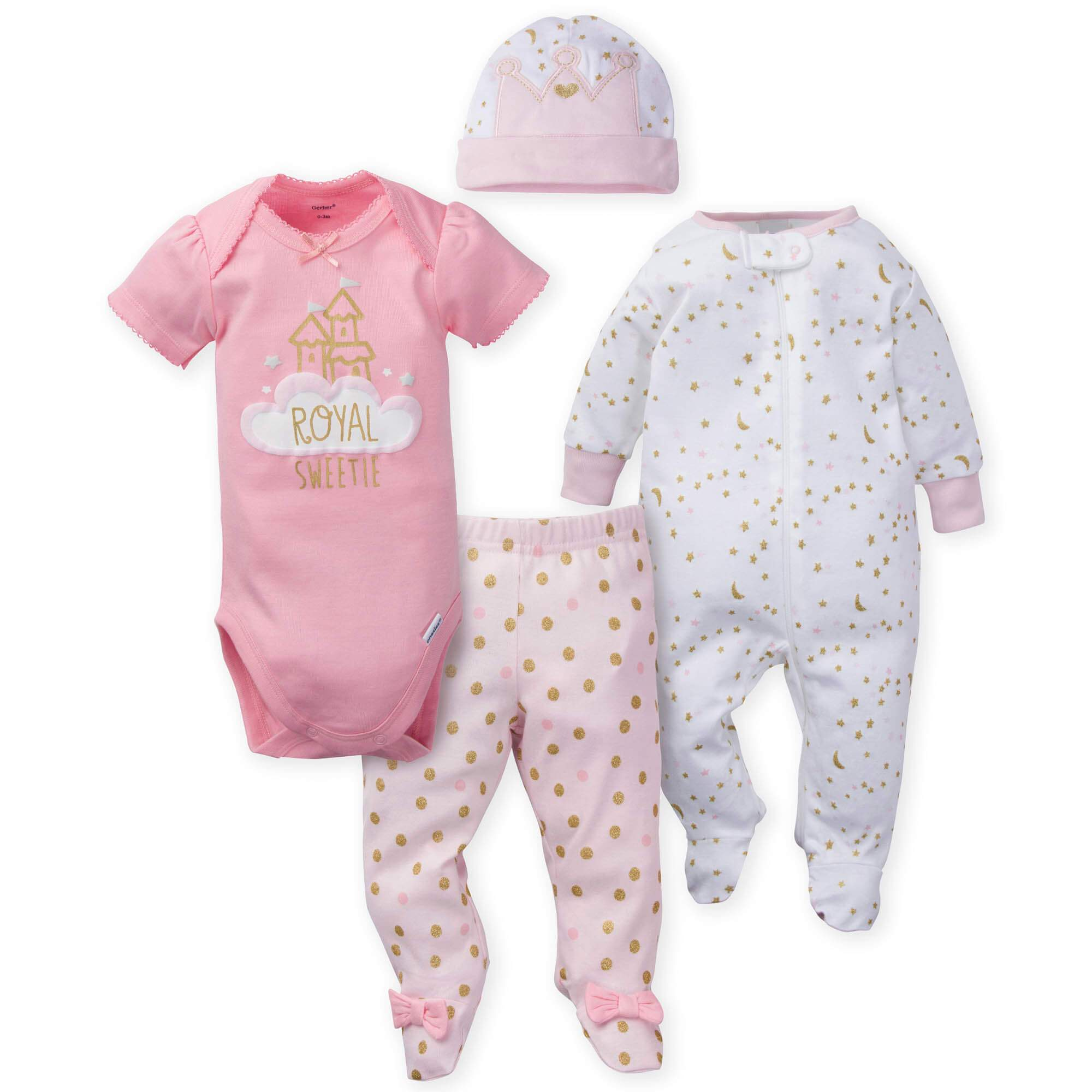 Gerber® 4-Piece Girls Princess Bundled Gift Set-Gerber Childrenswear