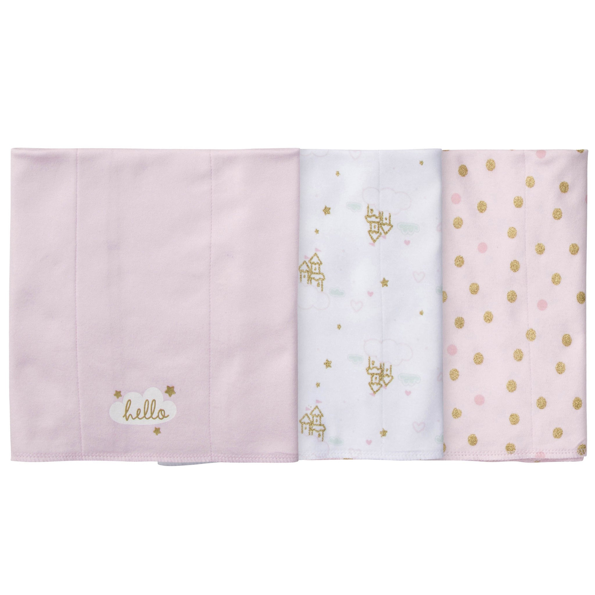3-Pack Girls Princess Castle Knit Burp Cloths