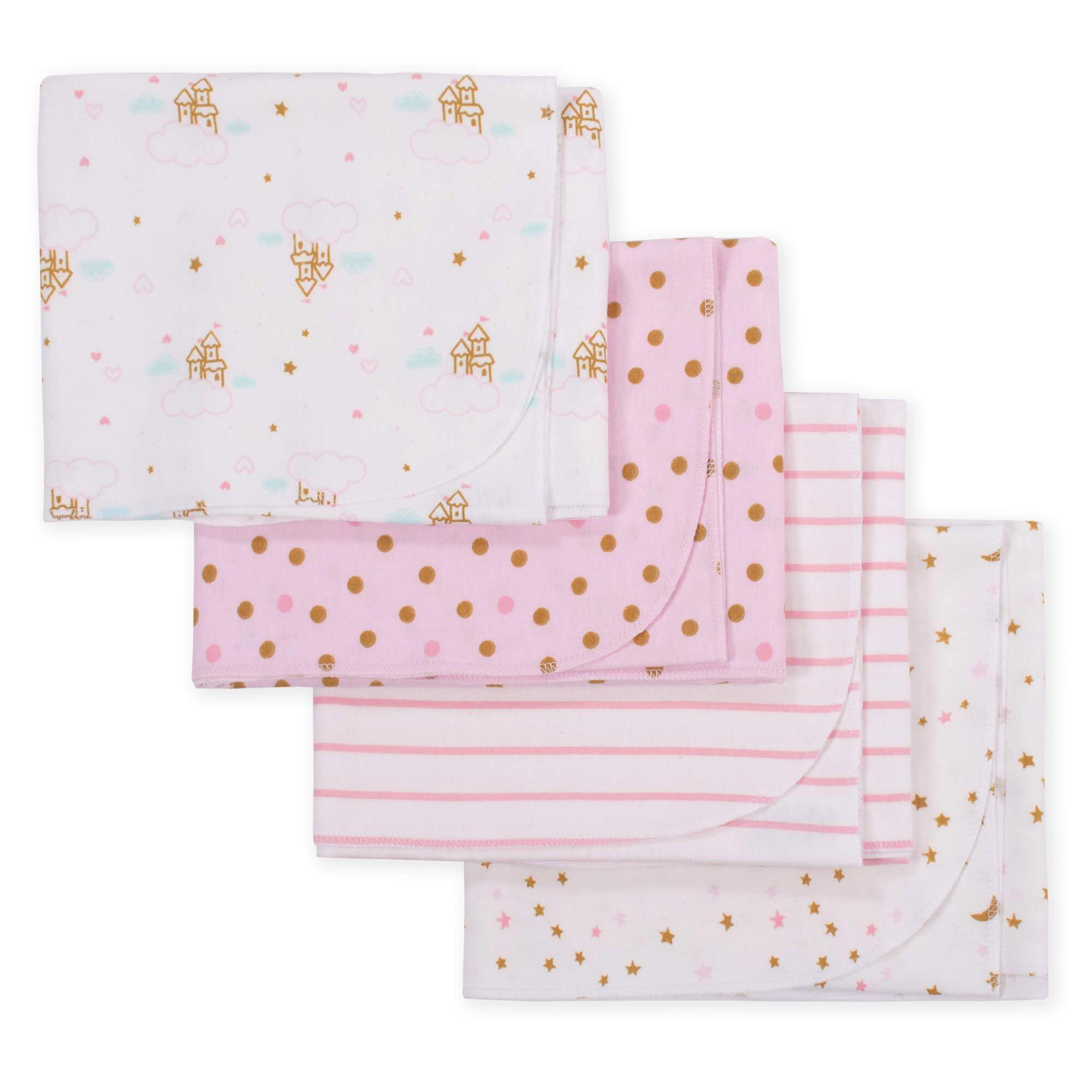 4-Pack Girls Princess Castle Flannel Receiving Blankets-Gerber Childrenswear
