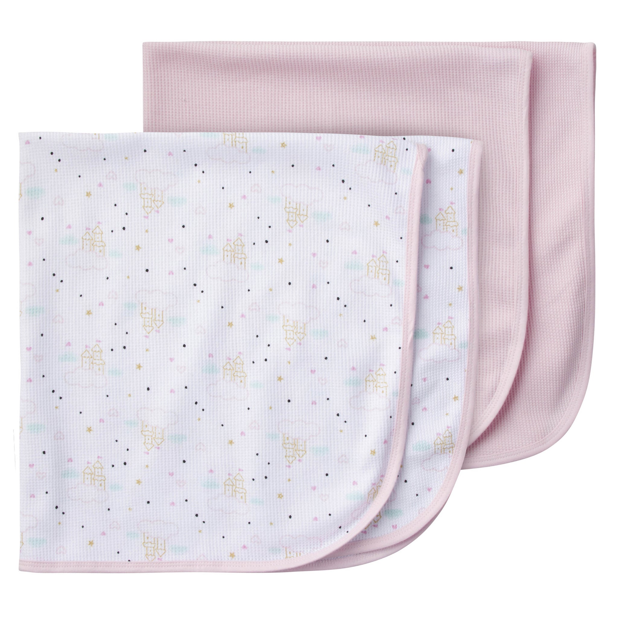 2-Pack Girls Princess Castle Thermal Receiving Blankets-Gerber Childrenswear
