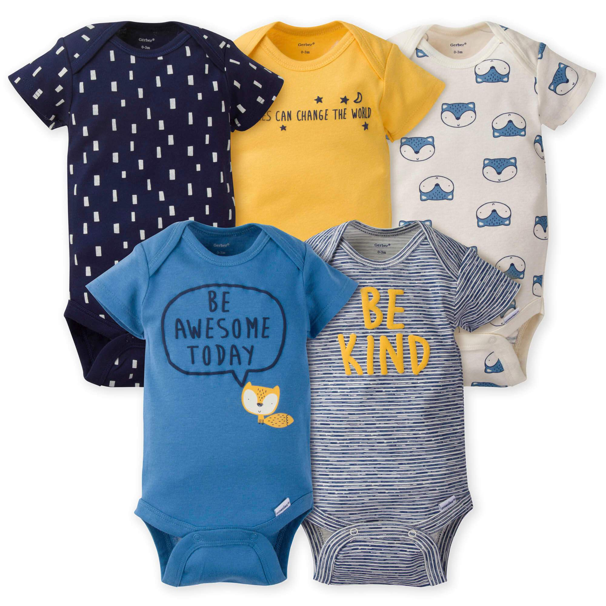 5-Pack Baby Boys Fox Onesies Brand Short Sleeve Bodysuits