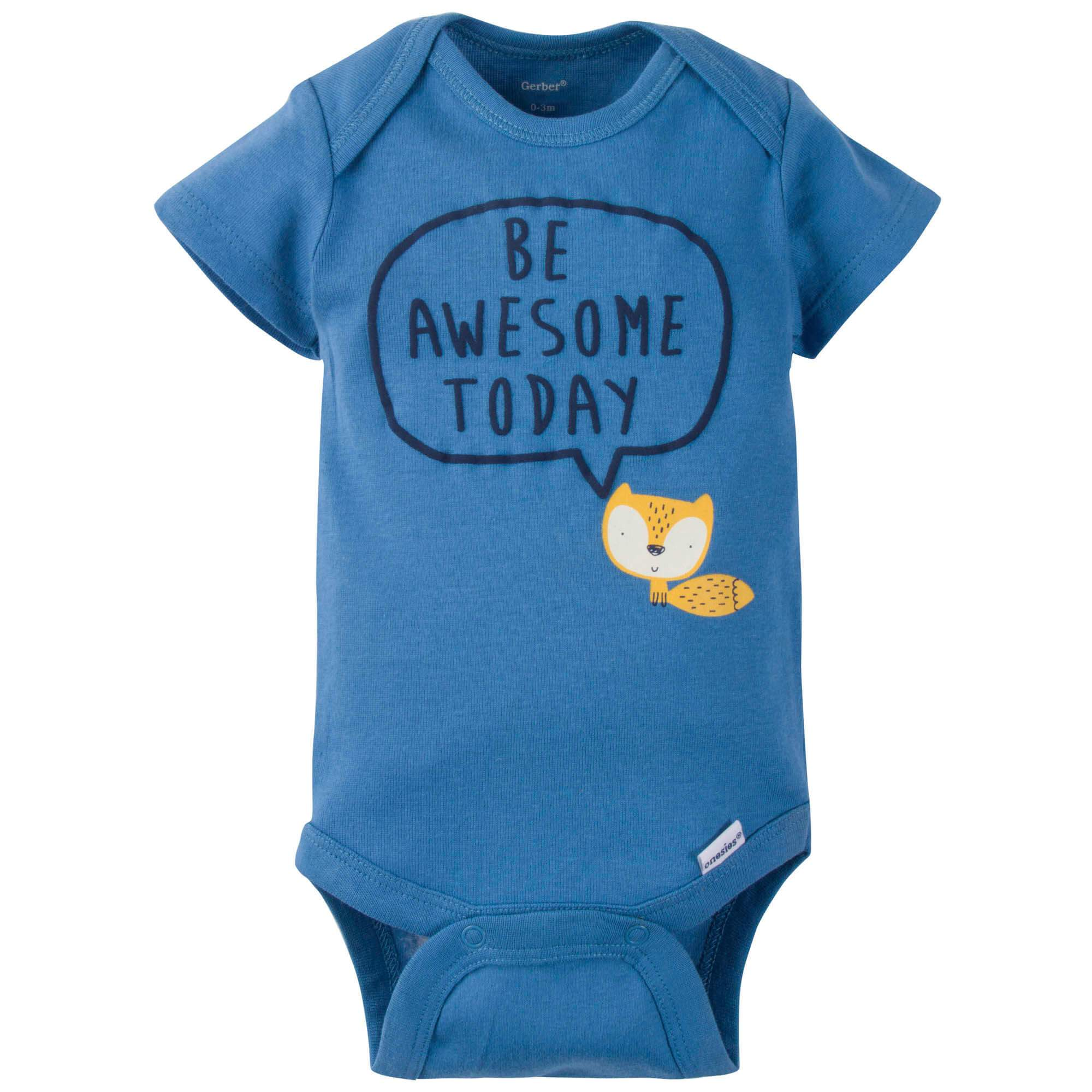 5-Pack Boys Fox Onesies Brand Short Sleeve Bodysuits