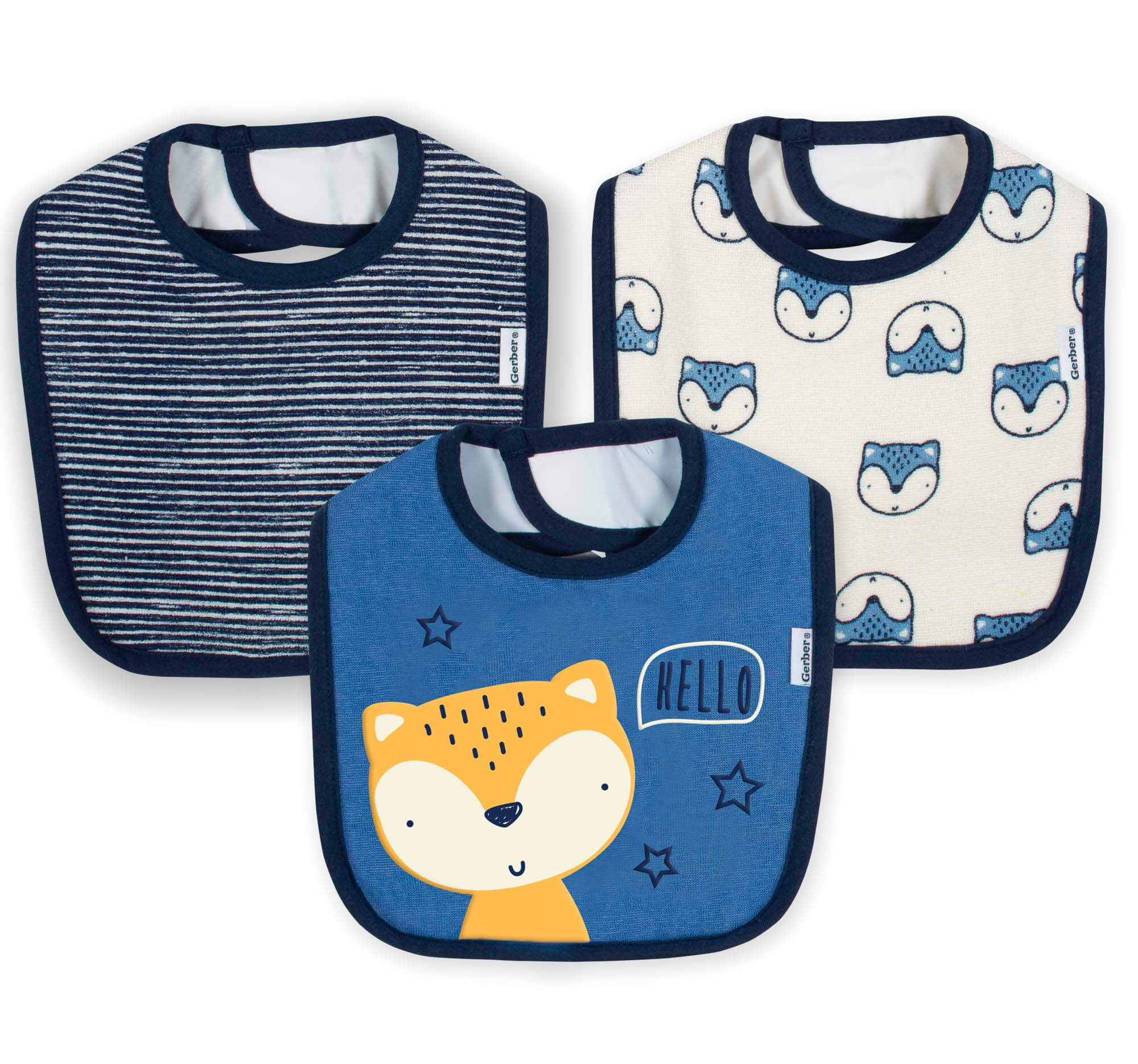 3-Pack Baby Boys Fox Terry Bibs