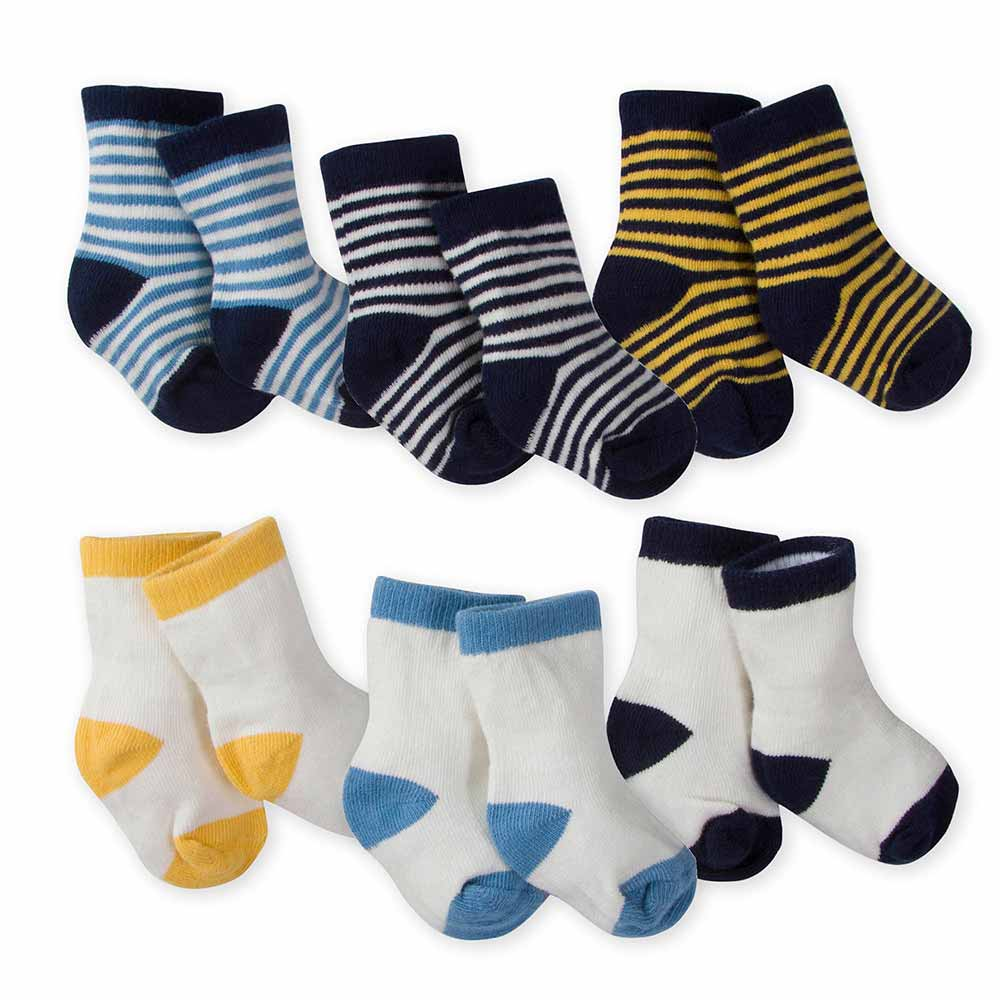 6-Pack Boys Striped Wiggle Proof Terry Crew Socks-Gerber Childrenswear