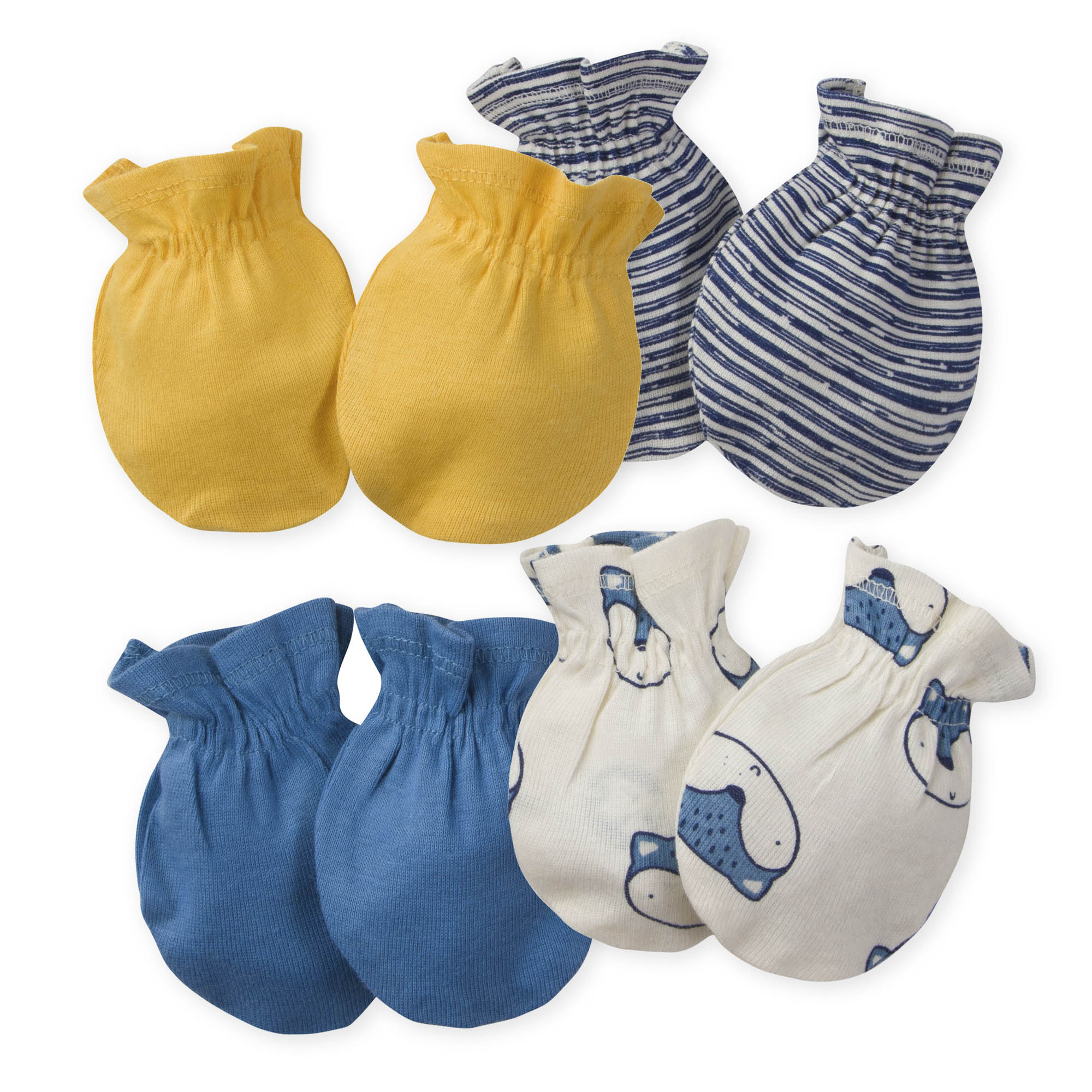 4-Pack Baby Boys Fox Mittens
