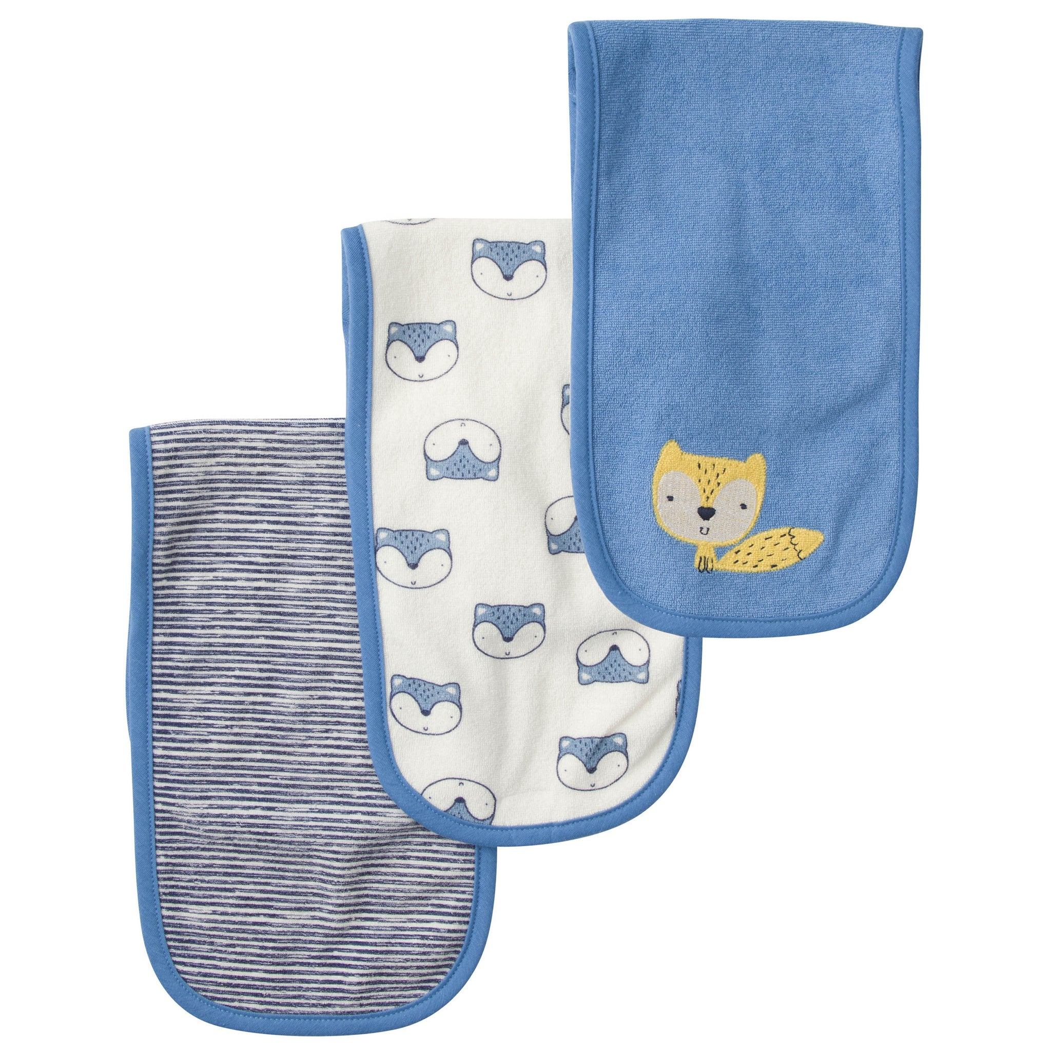 3-Pack Boys Fox Terry Burp Cloths