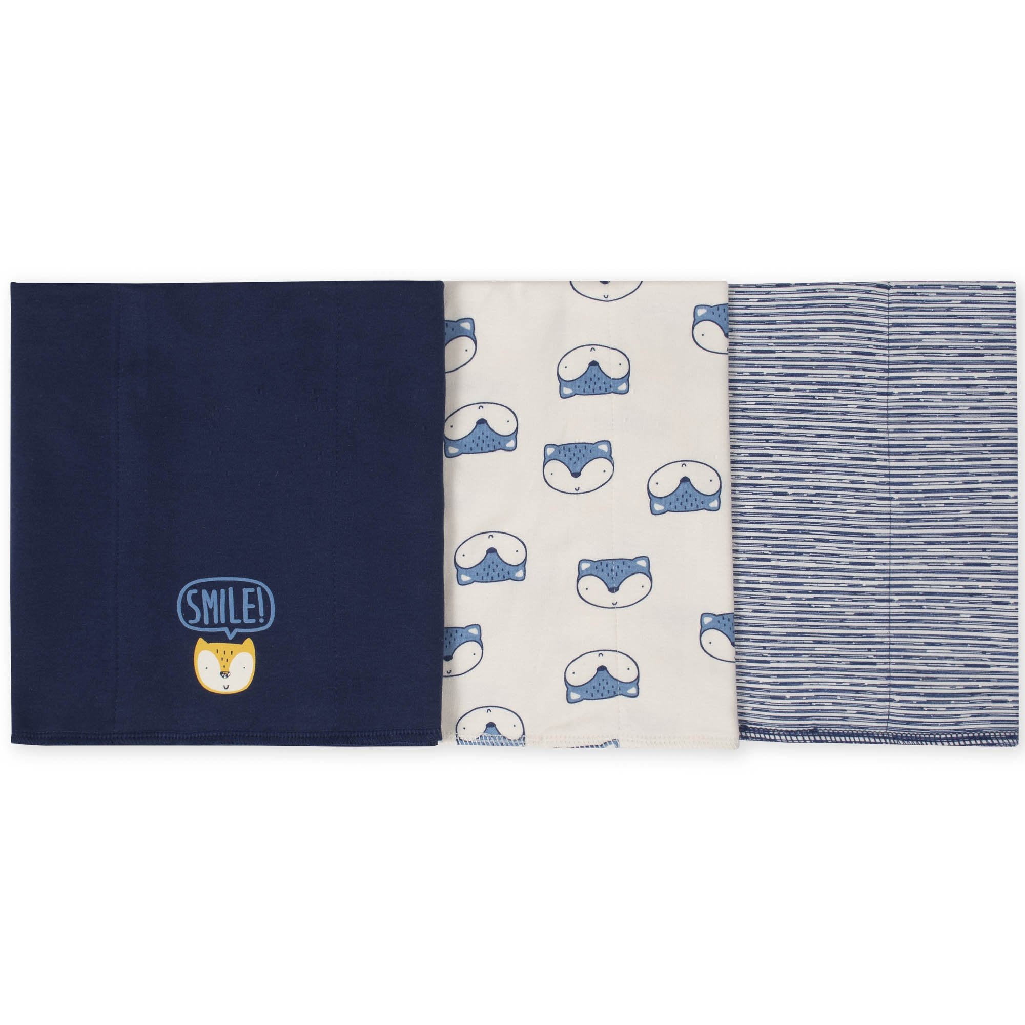 3-Pack Boys Fox Knit Burp Cloths