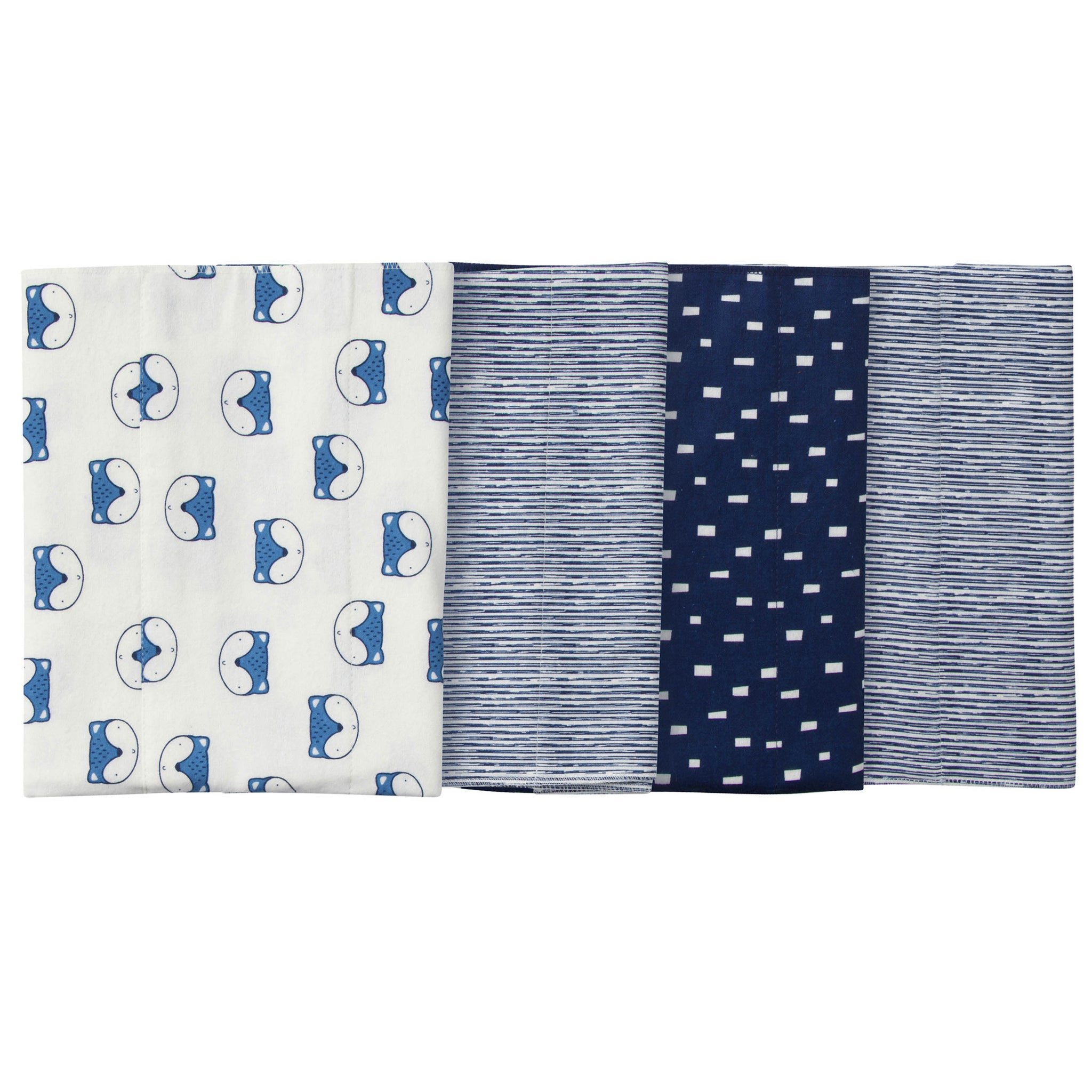 4-Pack Boys Fox Flannel Burp Cloths
