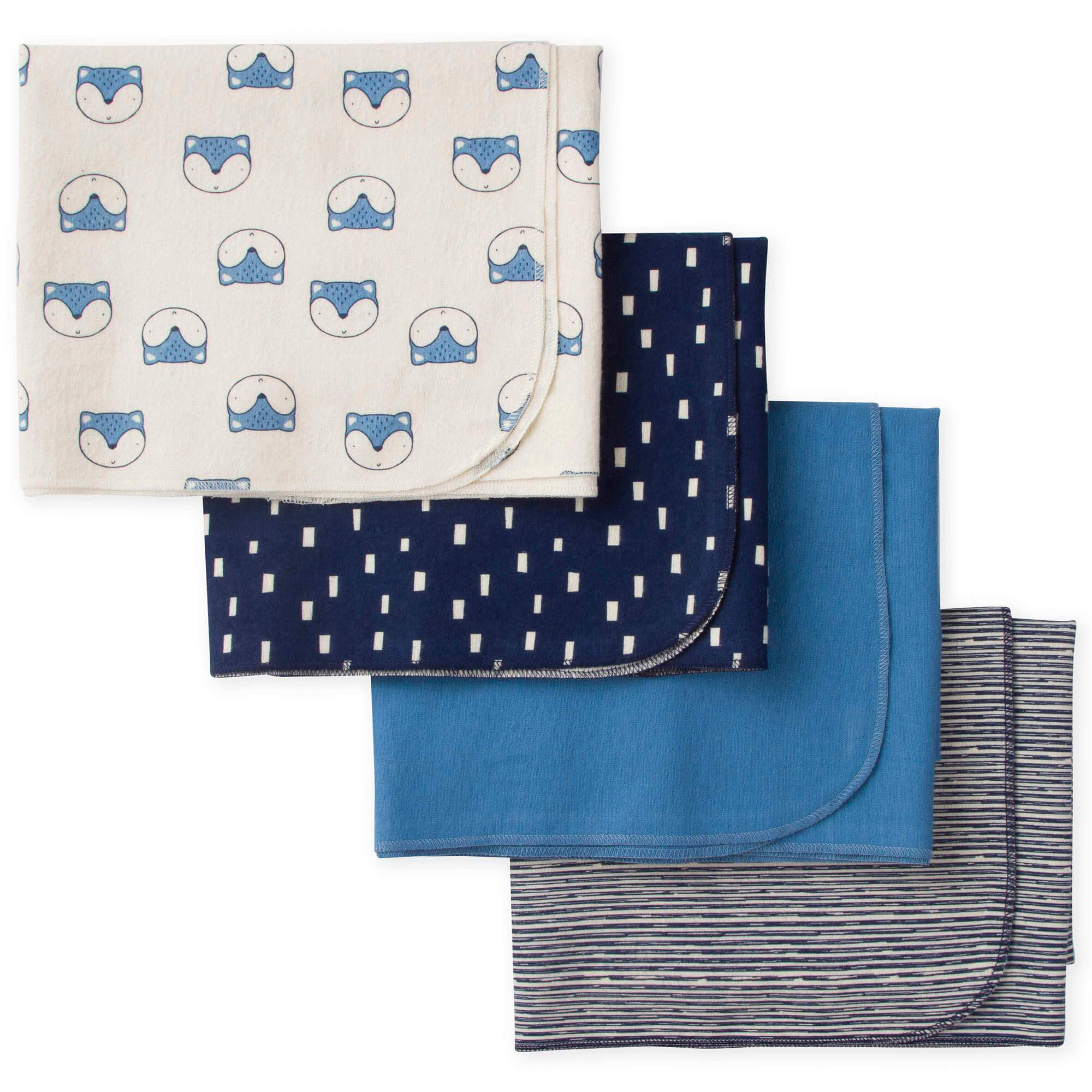 4-Pack Boys Fox Flannel Receiving Blankets