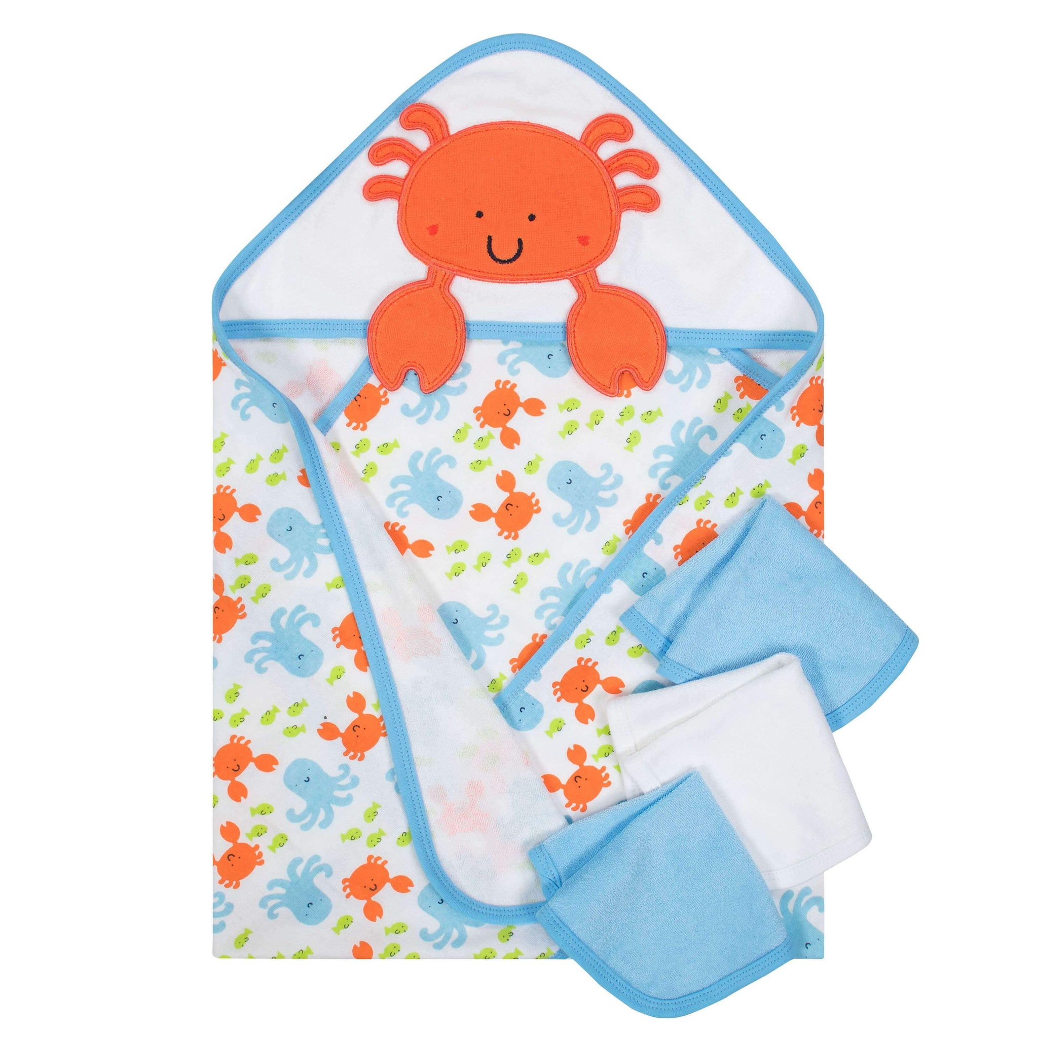 Crab Hooded Towel and Washcloths