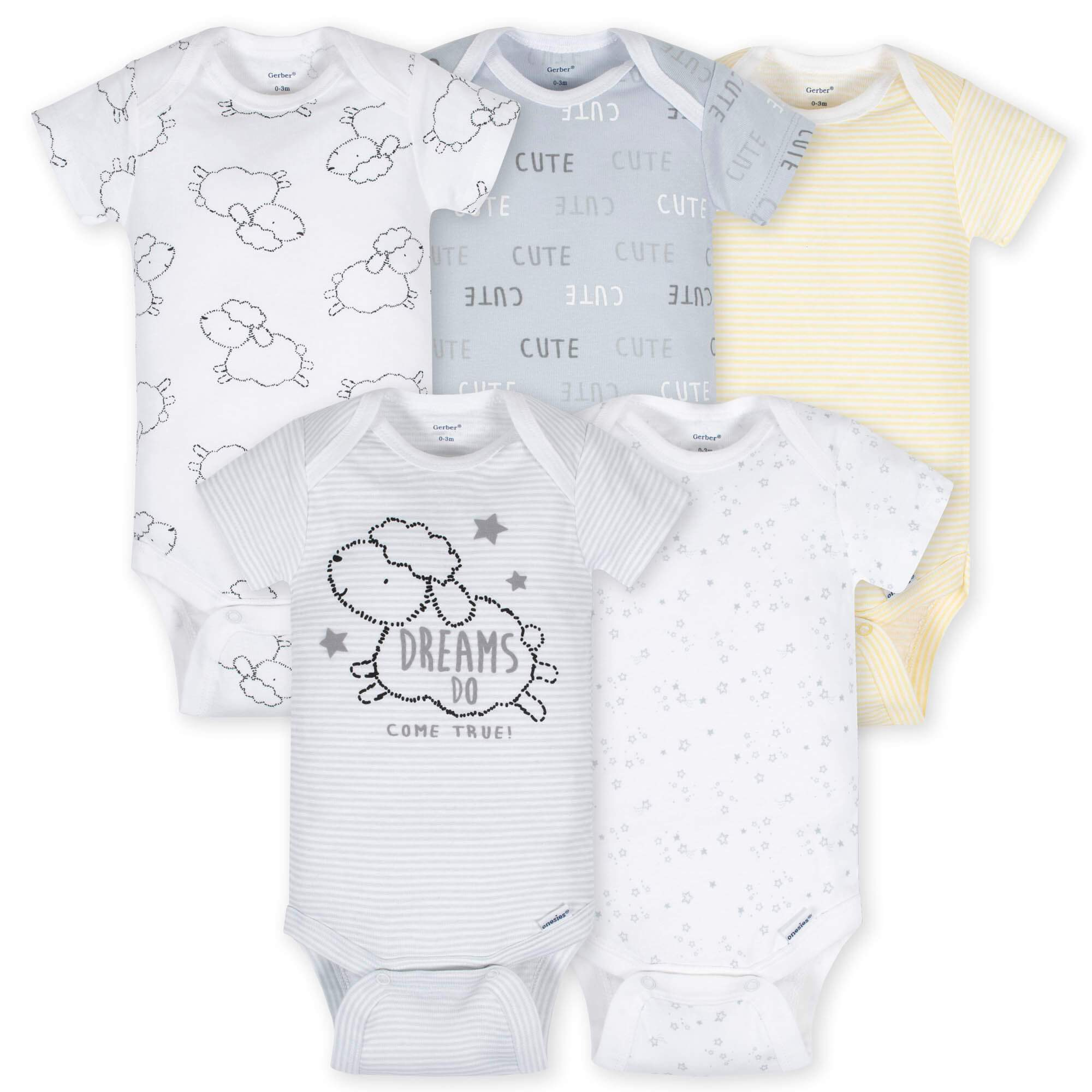5-Pack Neutral Lamb Onesies Brand Short Sleeve Bodysuits