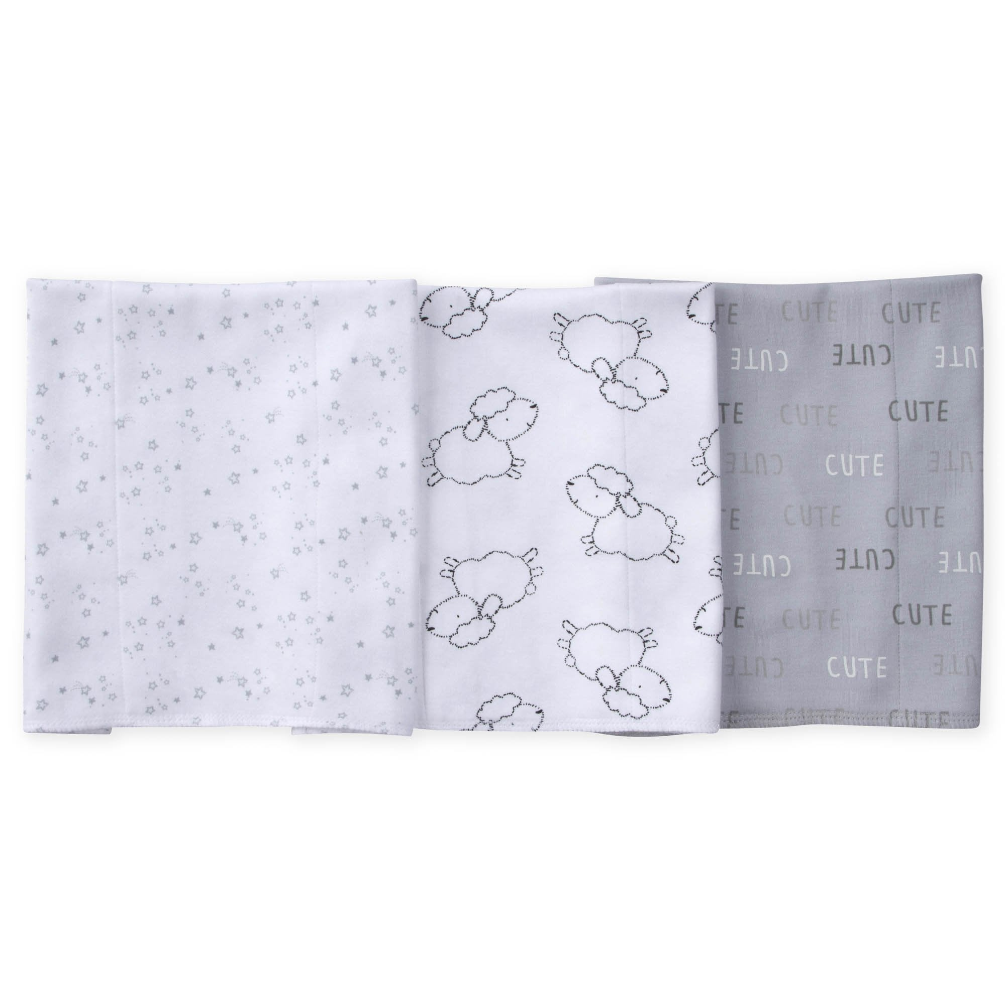 3-Pack Neutral Lamb Knit Burp Cloths