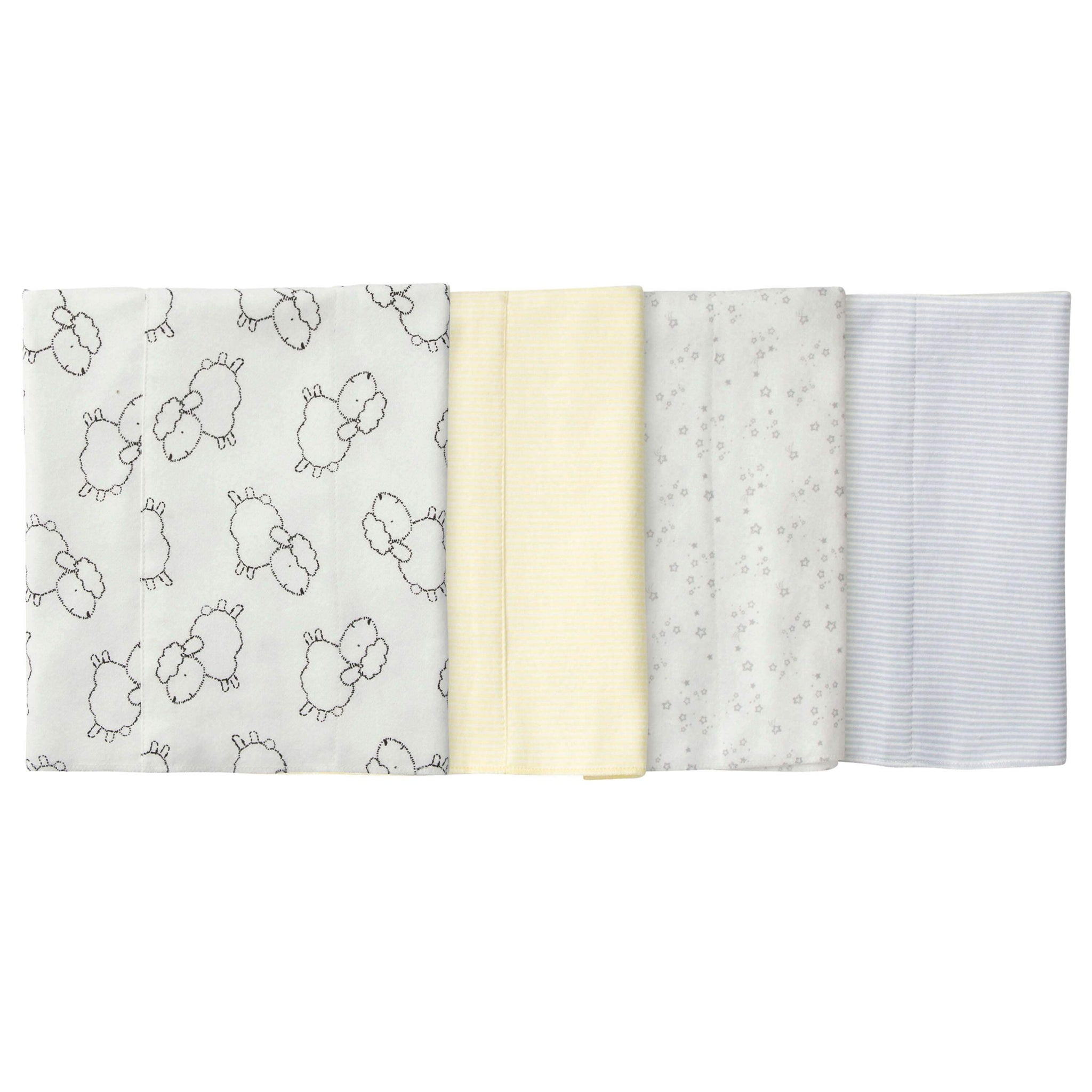 4-Pack Neutral Lamb Flannel Burp Cloths