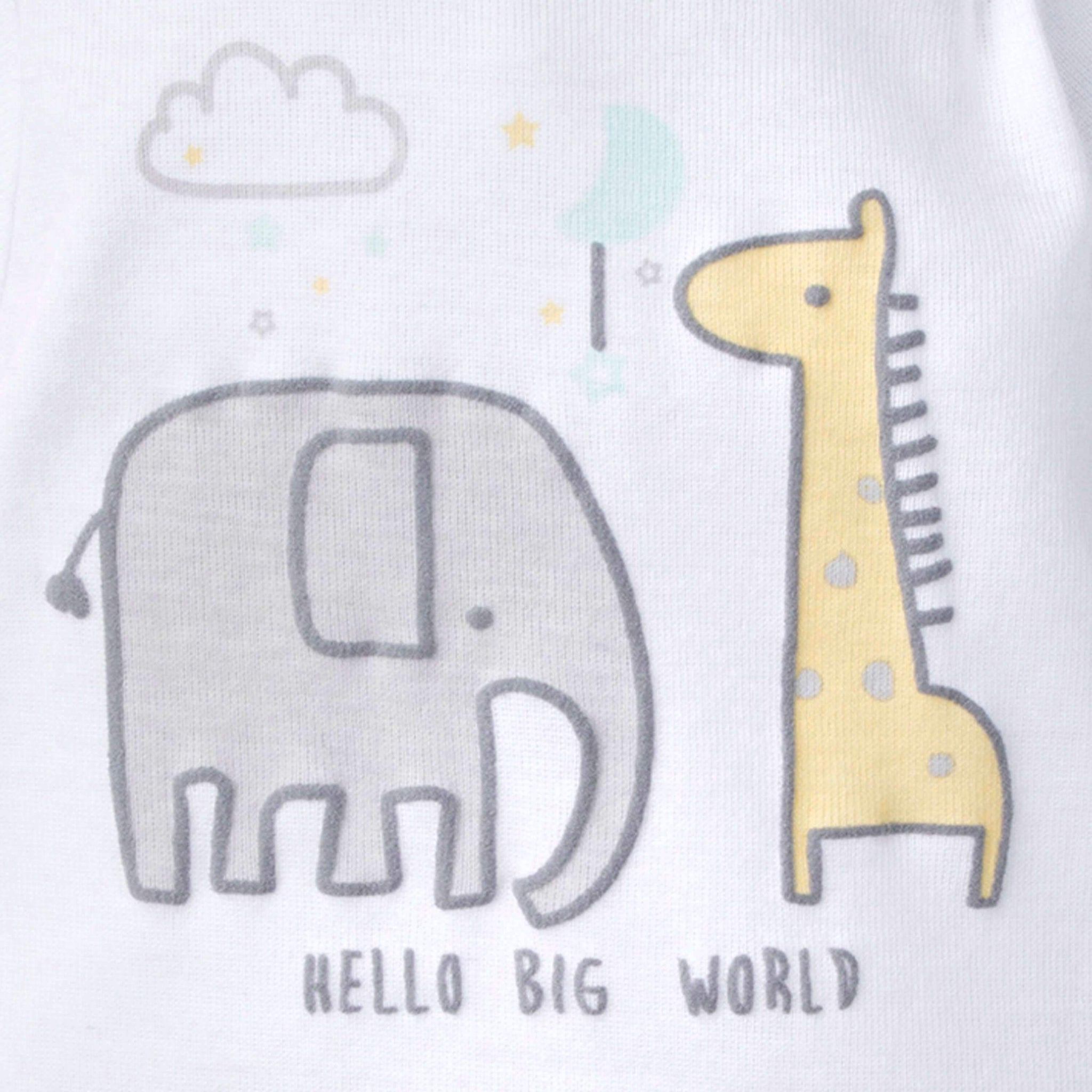 5-Pack Neutral Elephant Onesies Brand Short Sleeve Bodysuits