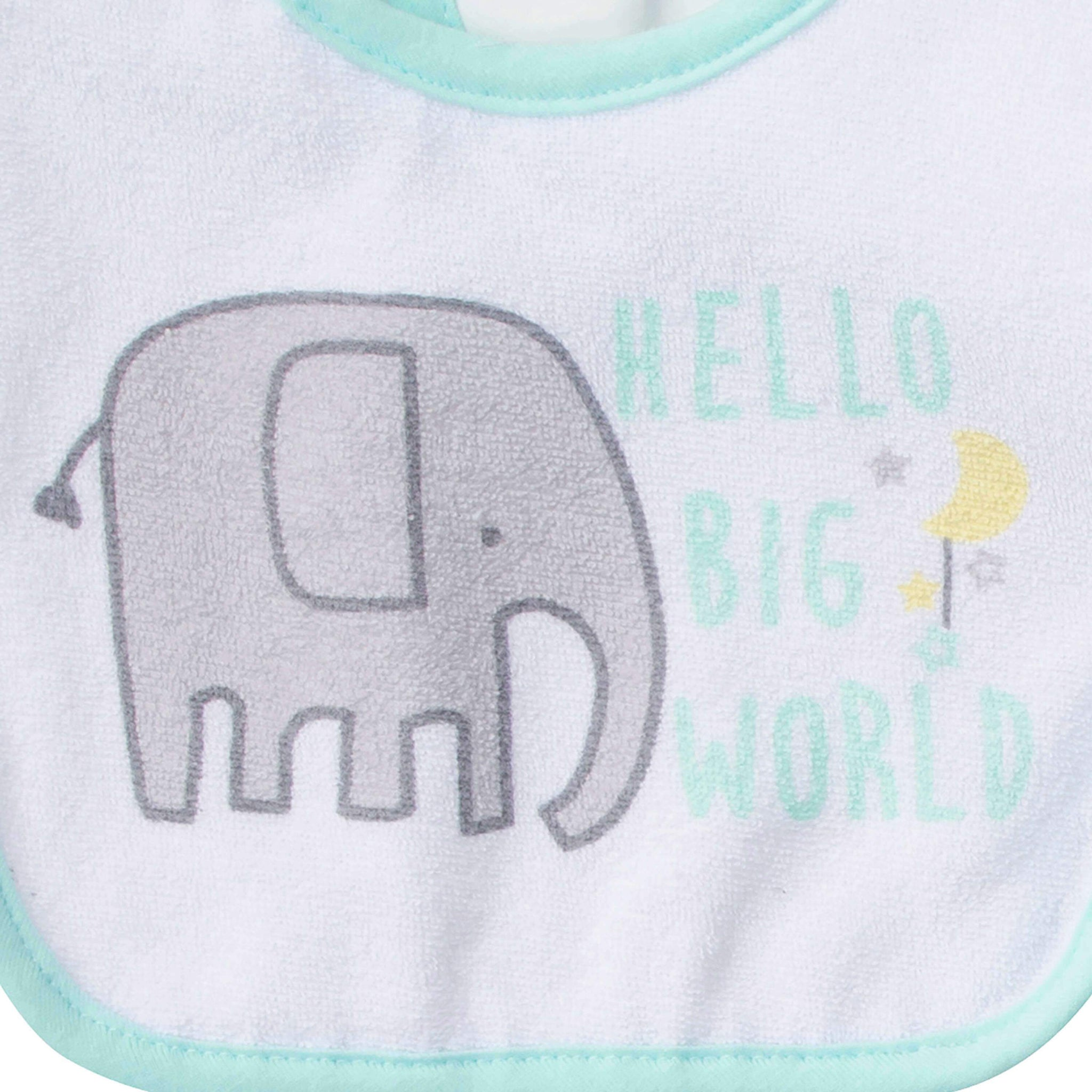 3-Pack Neutral Elephant Terry Bibs