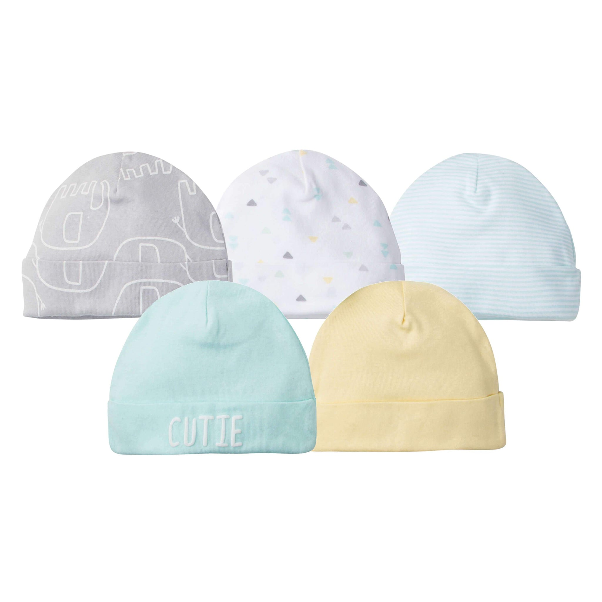 5-Pack Neutral Elephant Caps