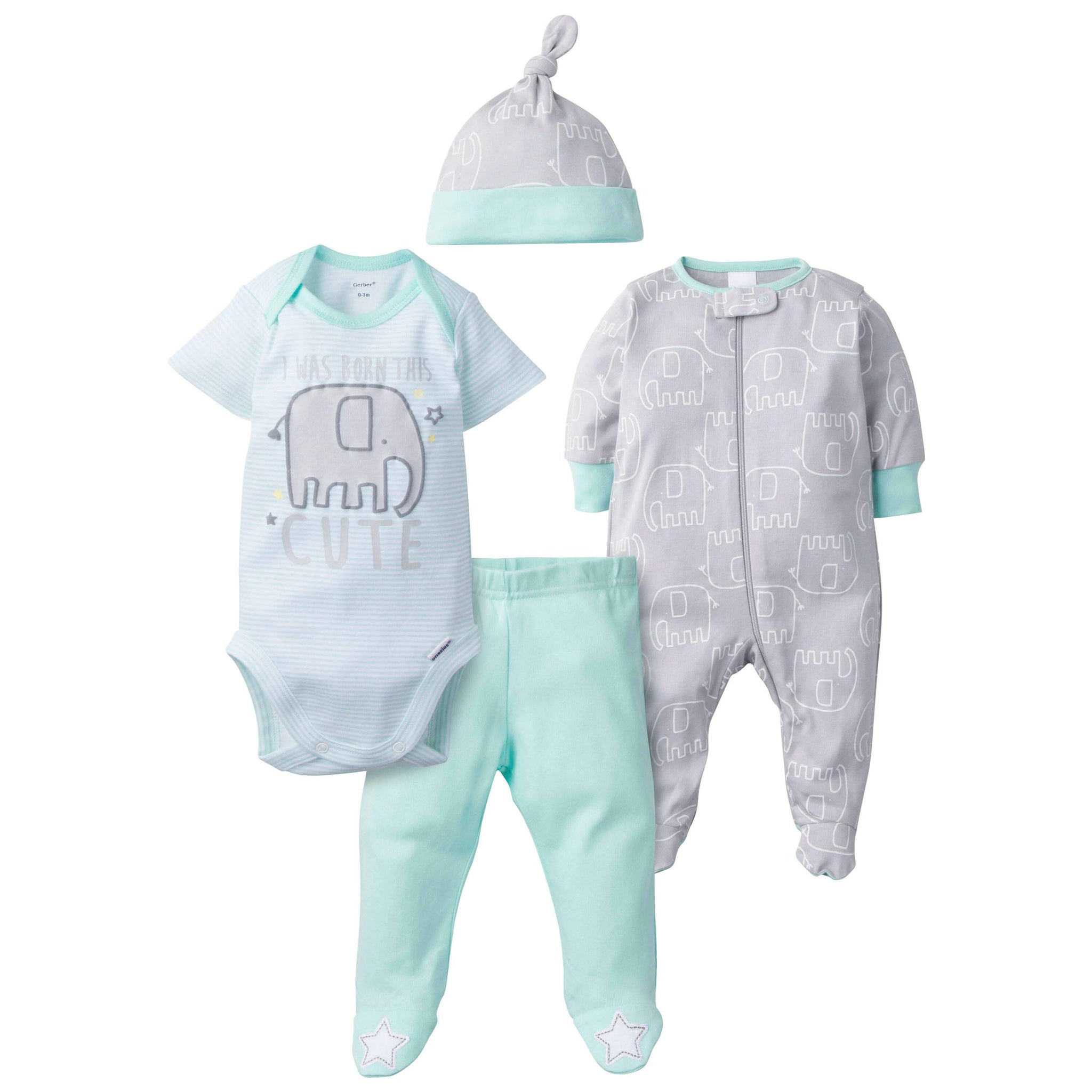 4-Piece Neutral Elephant Take-Me-Home Set
