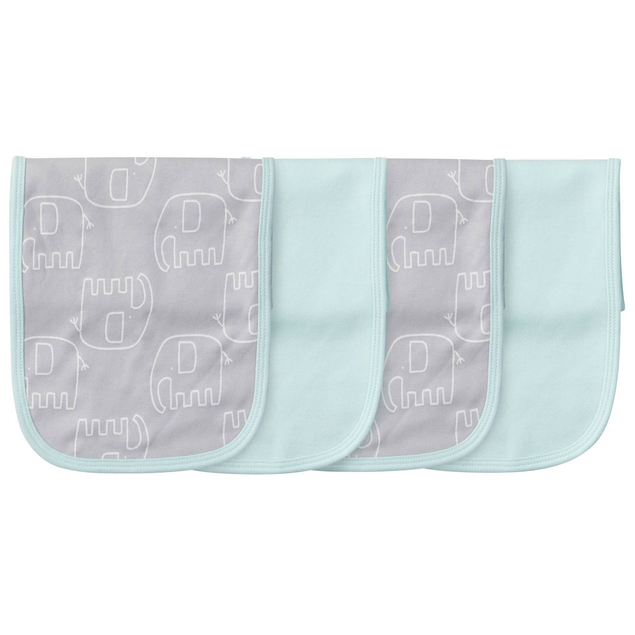 4-Pack Neutral Elephant Terry Burp Cloths