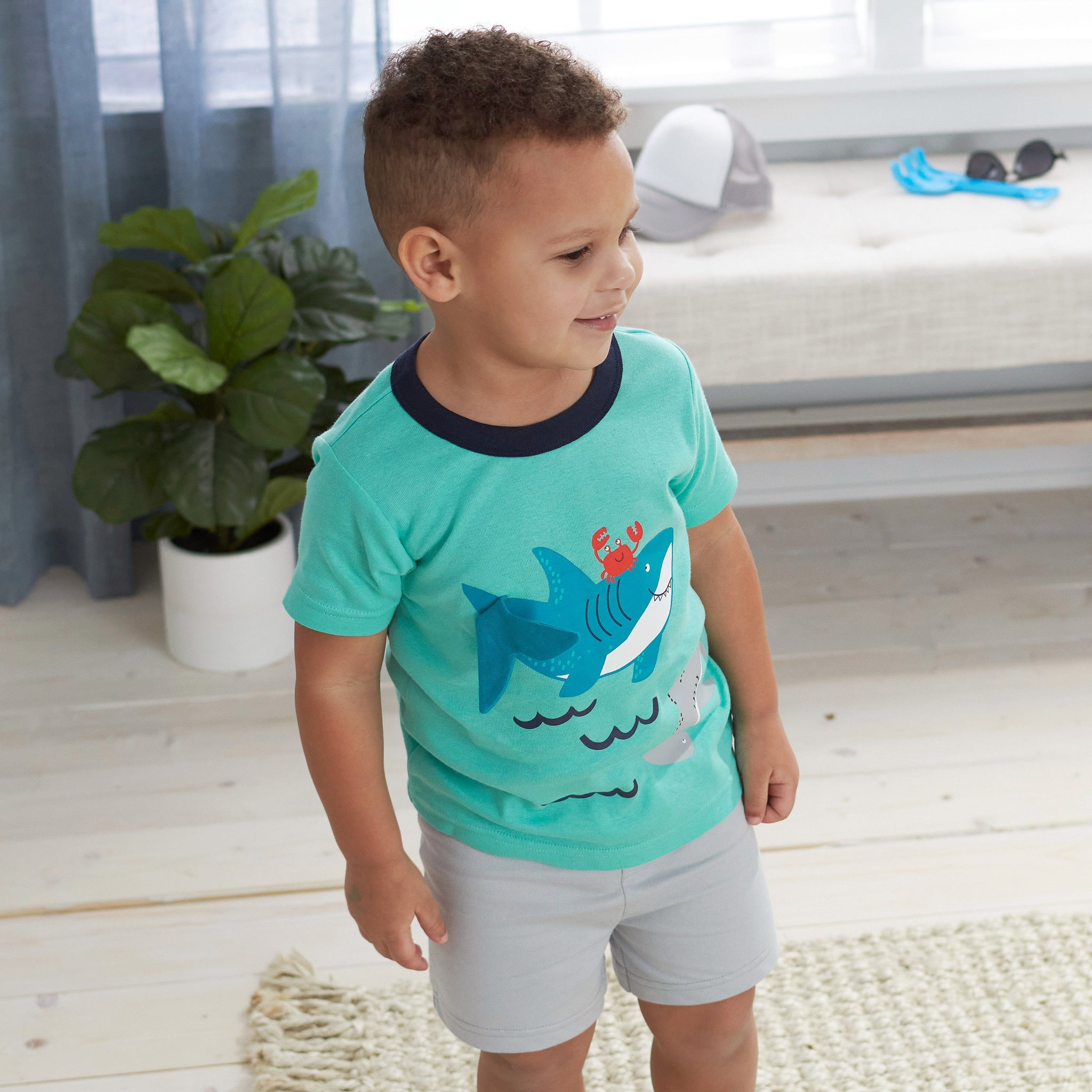 4-Piece Boys Shark Short, Shirts, and Active Pant Set