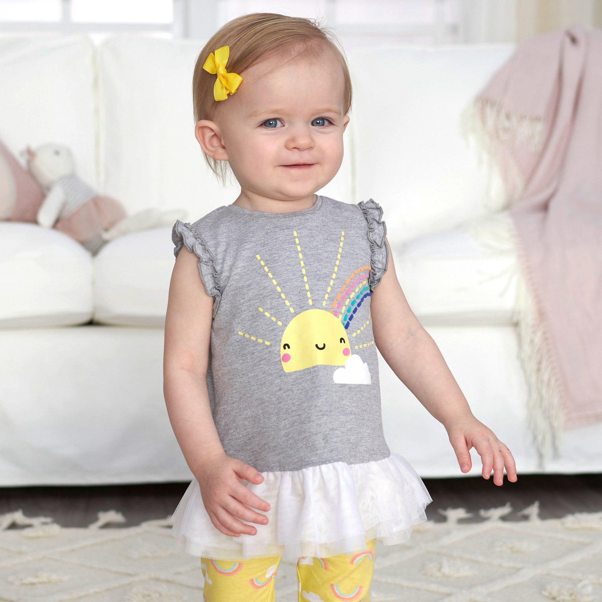 2-Piece Baby Girls Sunshine Ruffled Tunic and Legging Set