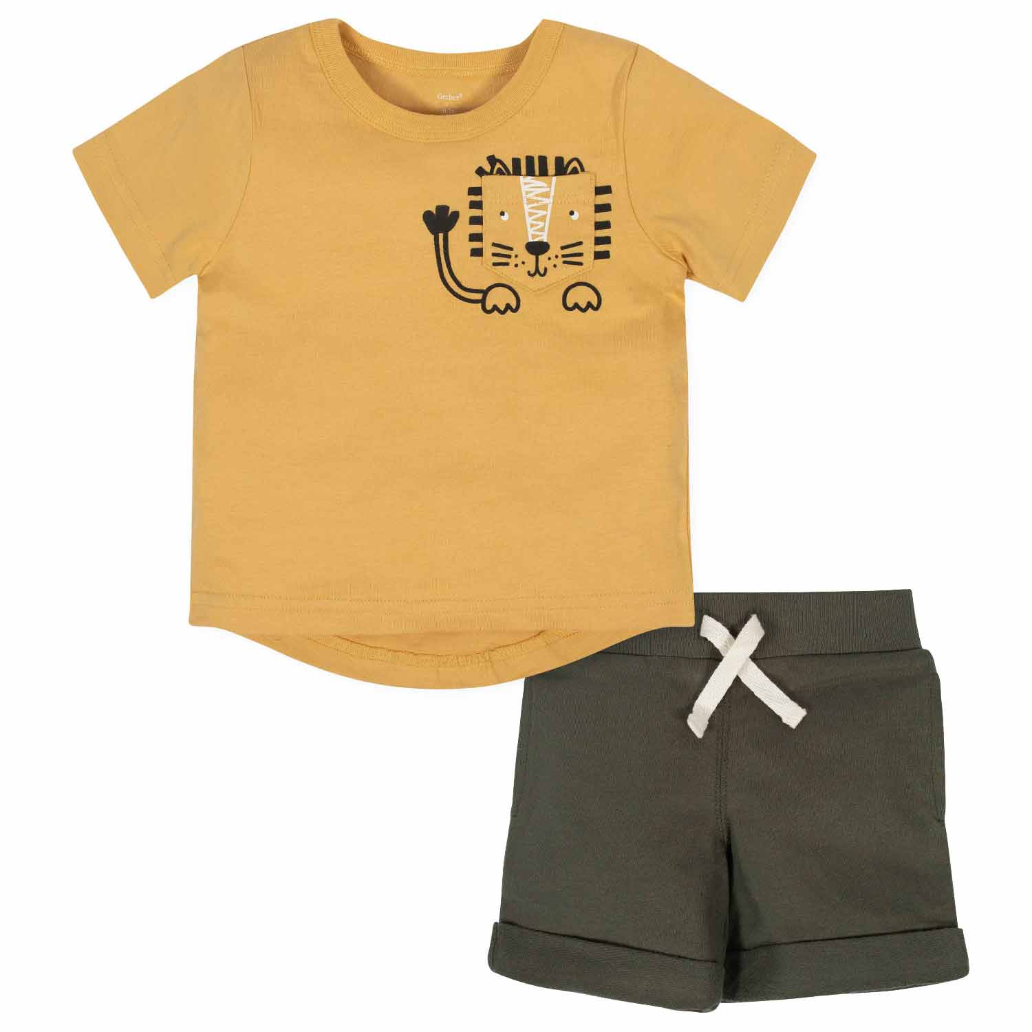 Gerber® 2-Piece Baby Boys Lion Pocket Tee and Short Set
