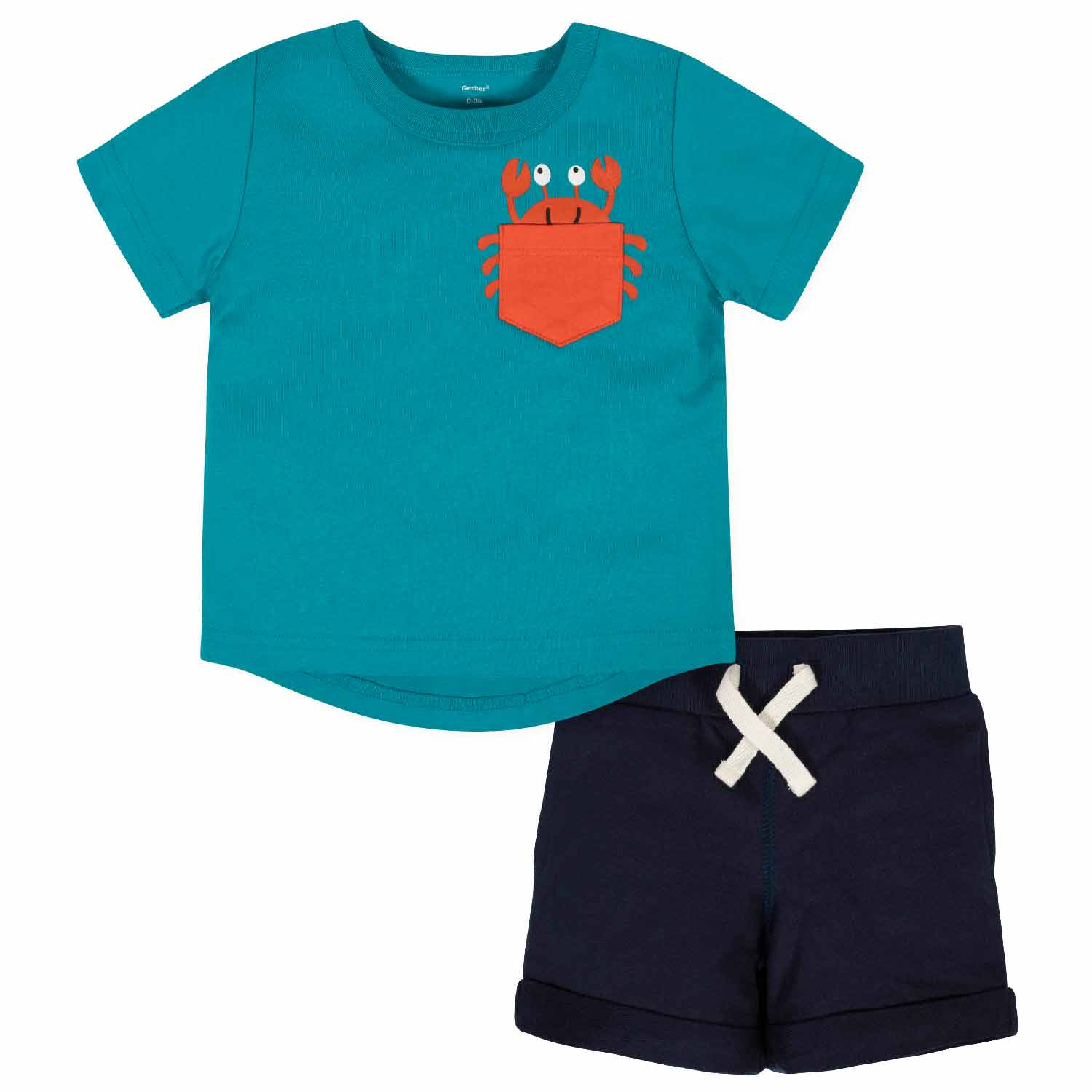 2-Piece Baby Boys Crab Pocket Tee and Short Set