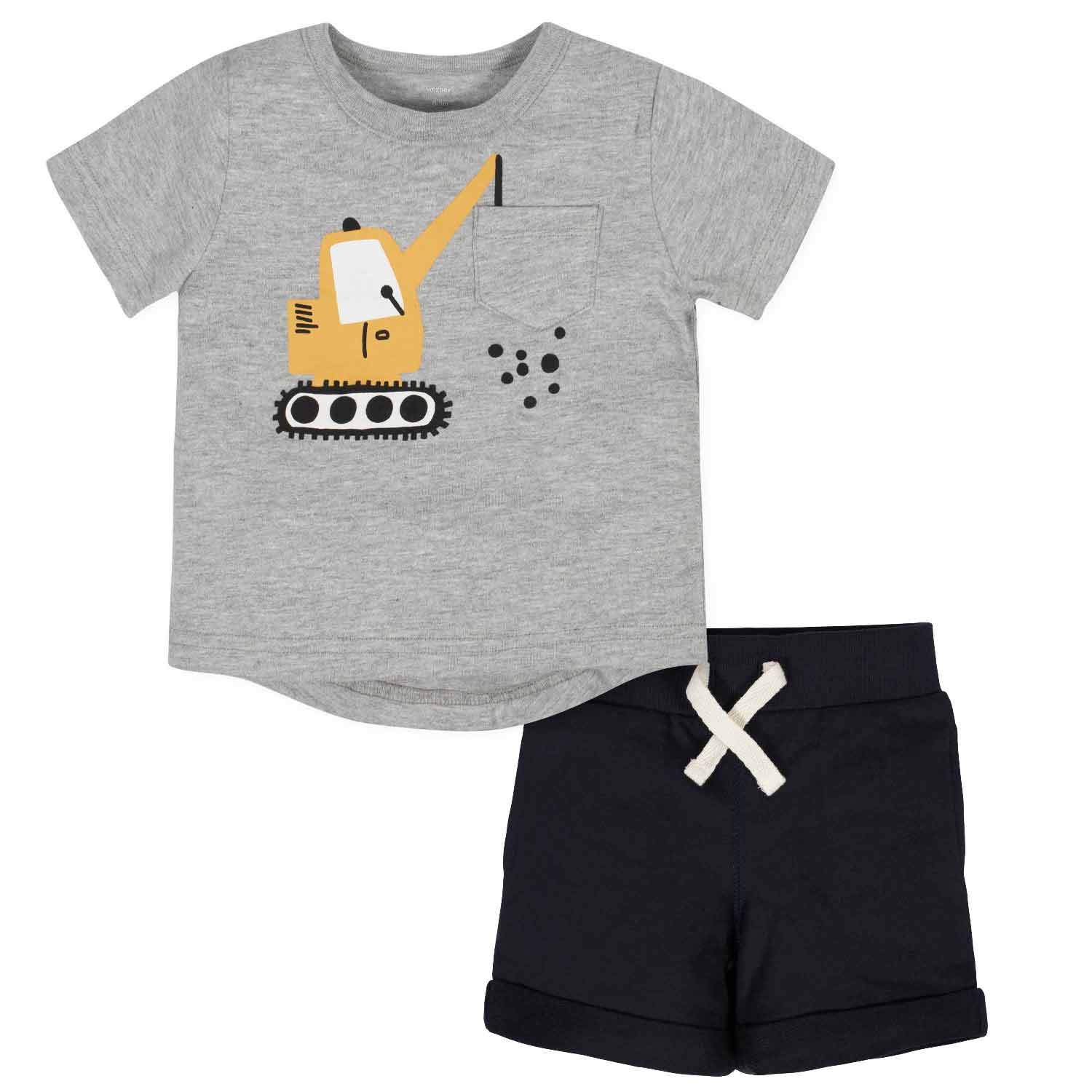 2-Piece Baby Boys Crane Pocket Tee and Short Set