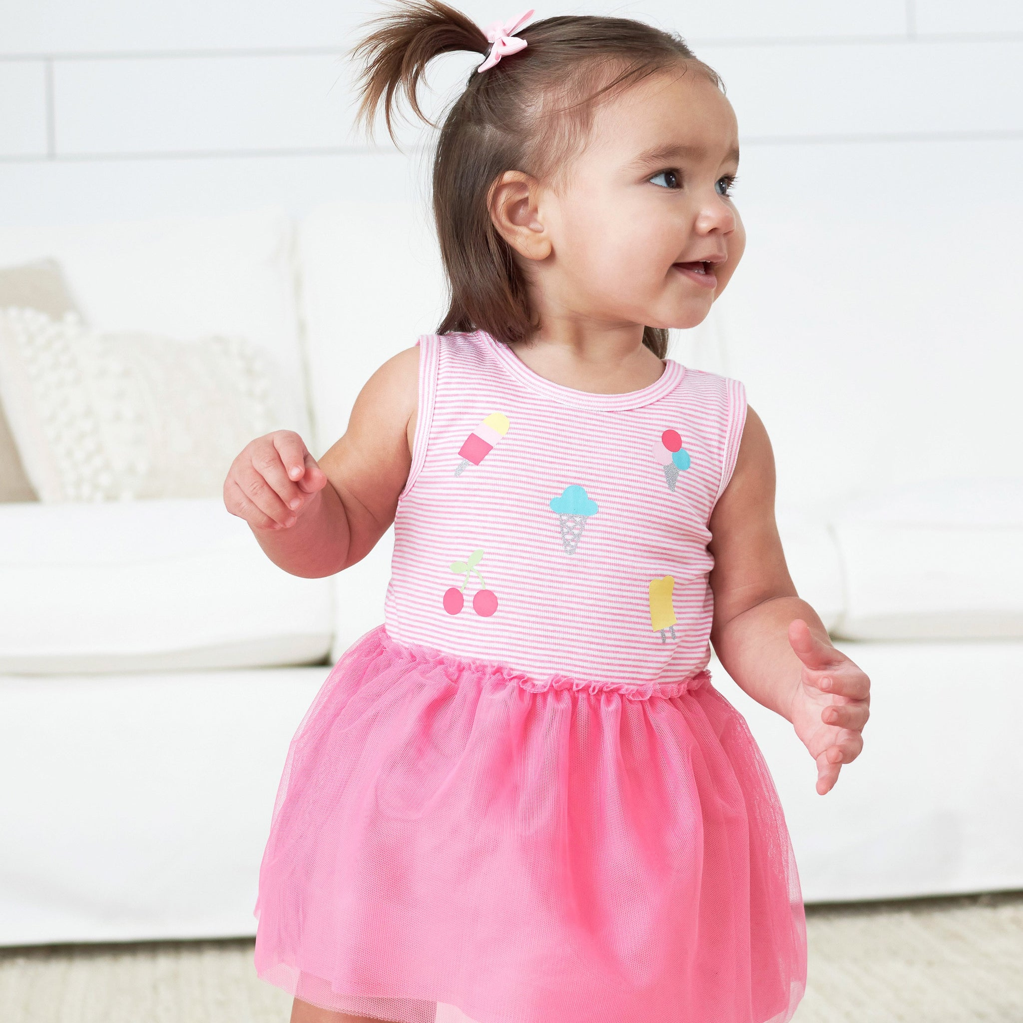 2-Piece Toddler Girls Ice Cream Tulle Dress and Diaper Cover
