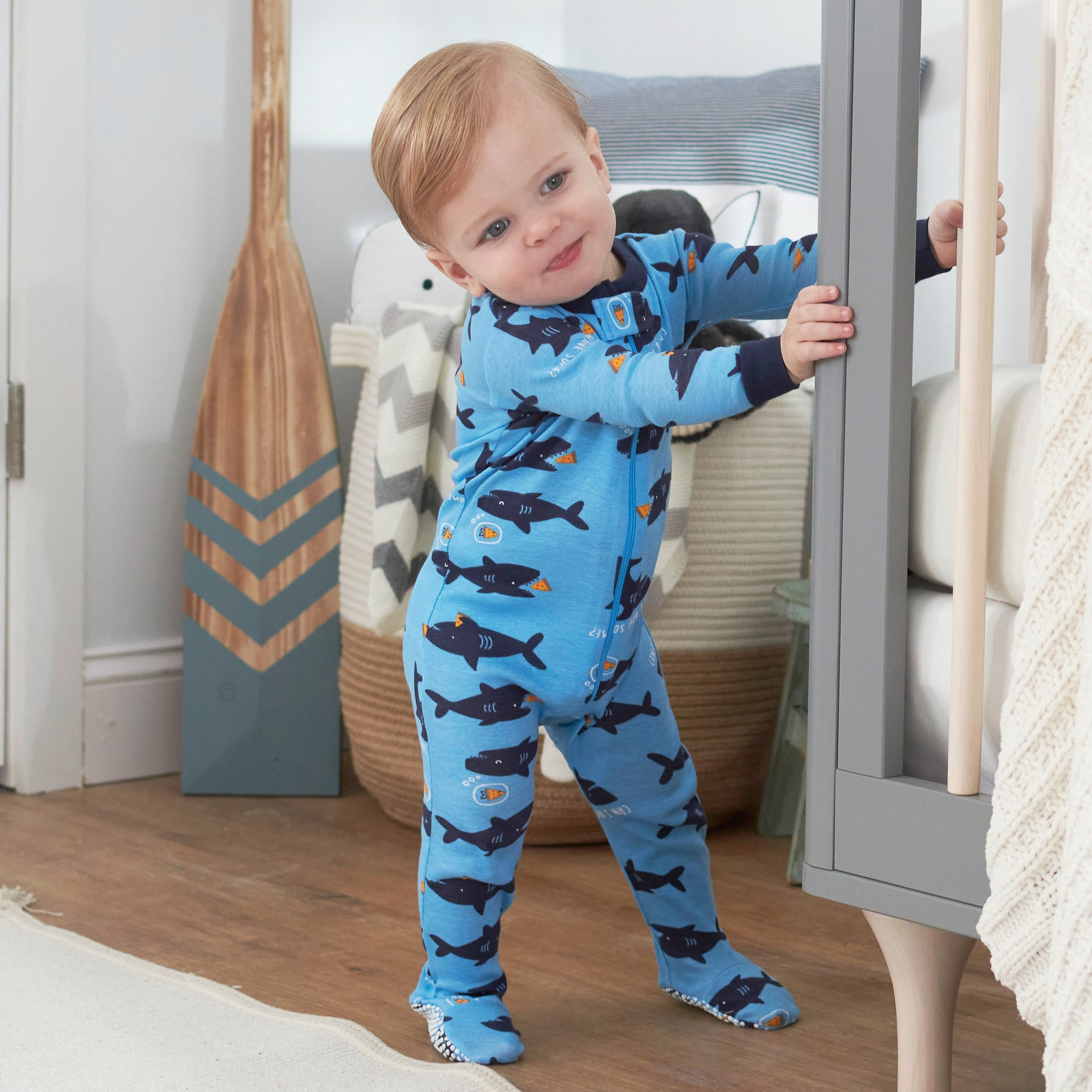 2-Pack Boys Sharks Footed Pajamas
