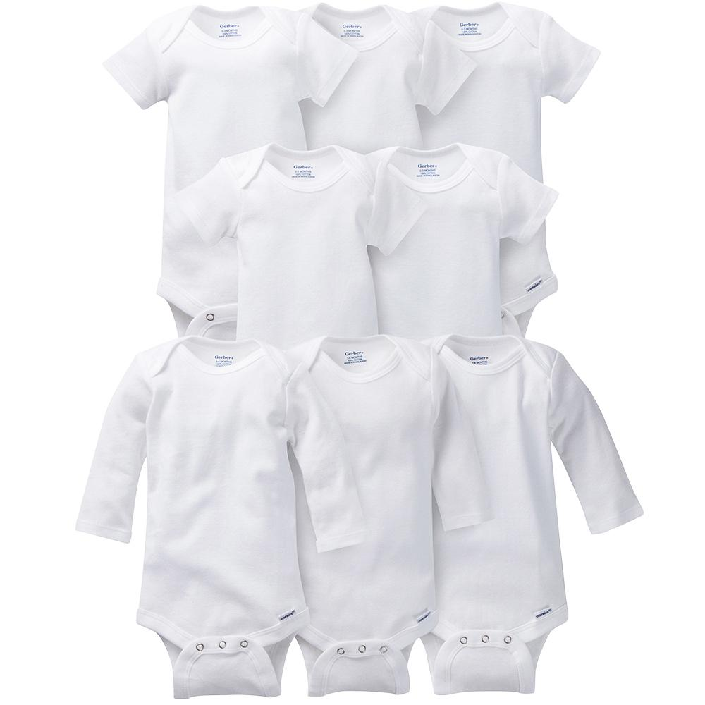 8-Pack White Onesies® Brand Short & Long Sleeve Bodysuit Set