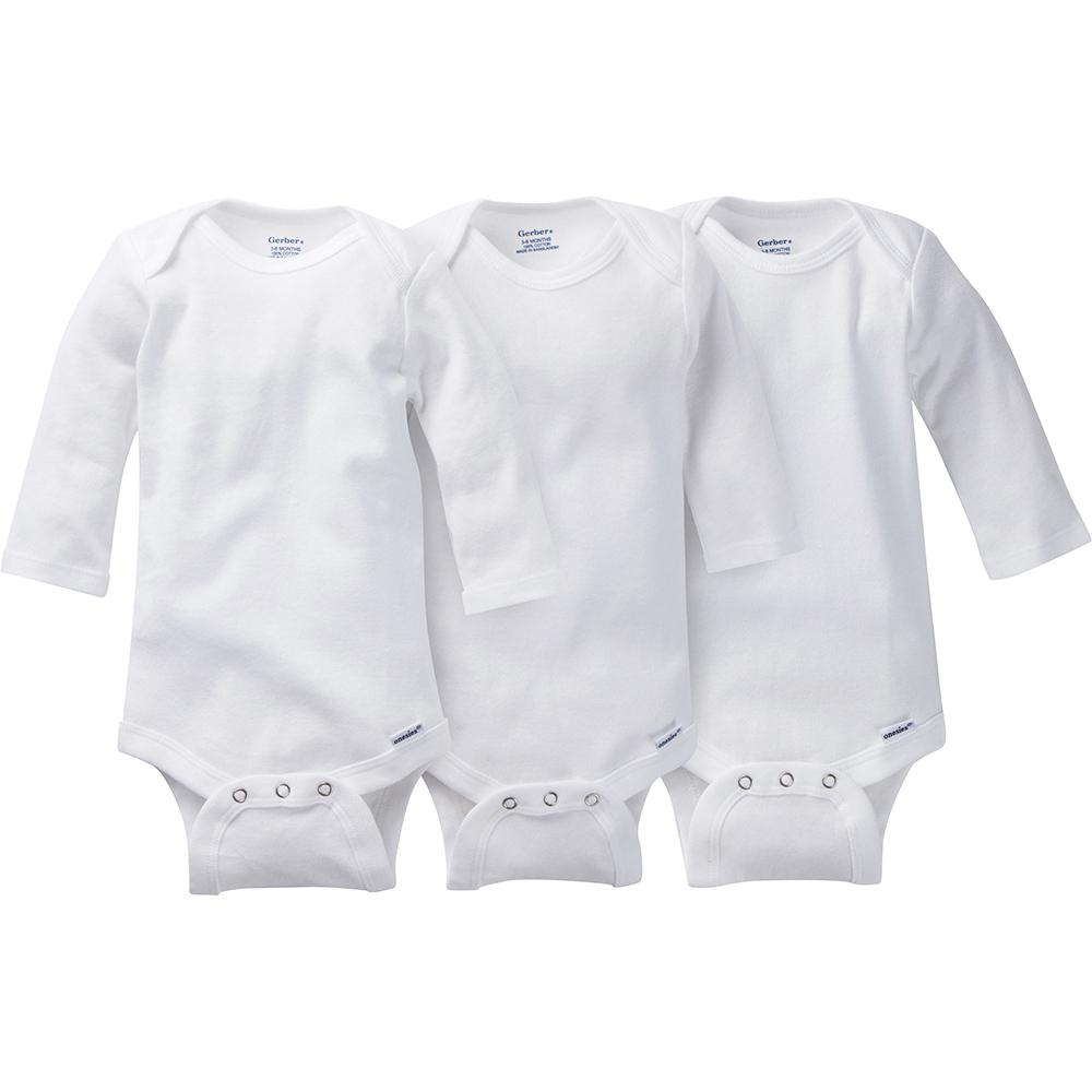 3-Pack White Onesies® Brand Long Sleeve Bodysuits