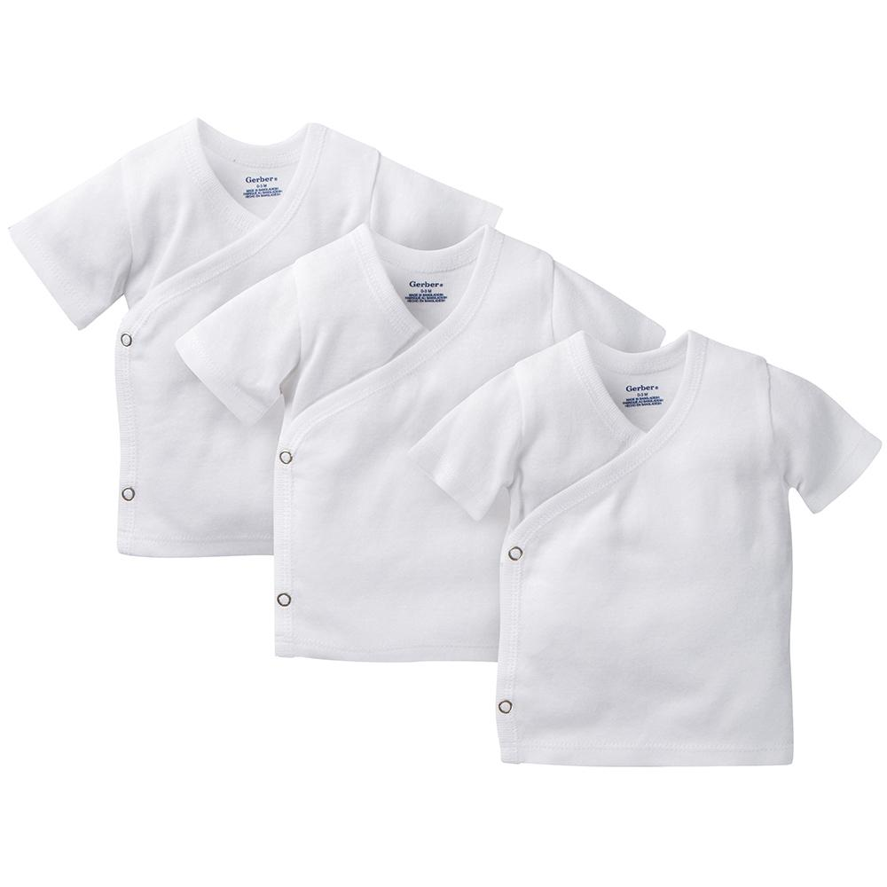 3-Pack White Side-Snap Short Sleeve Shirts