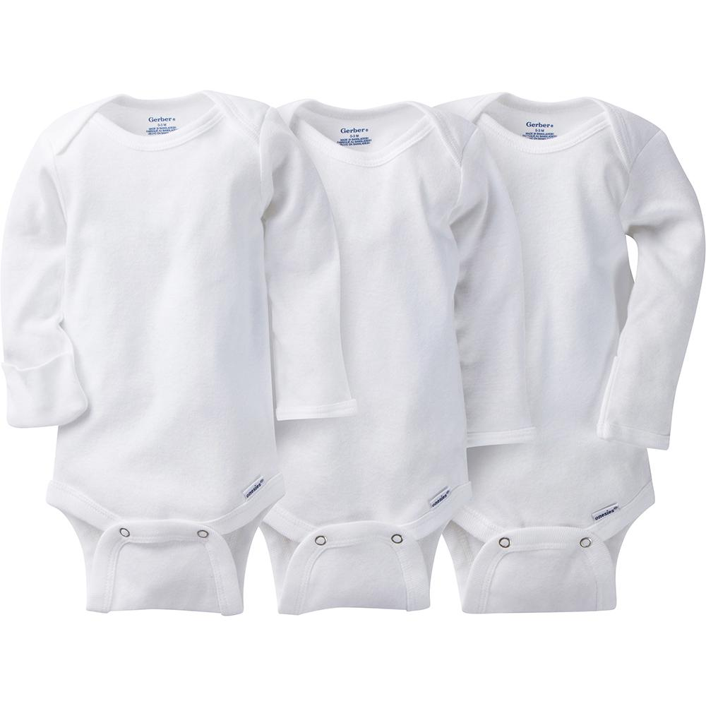 3-Pack White Onesies® Brand Long Sleeve Bodysuits with Mitten Cuffs