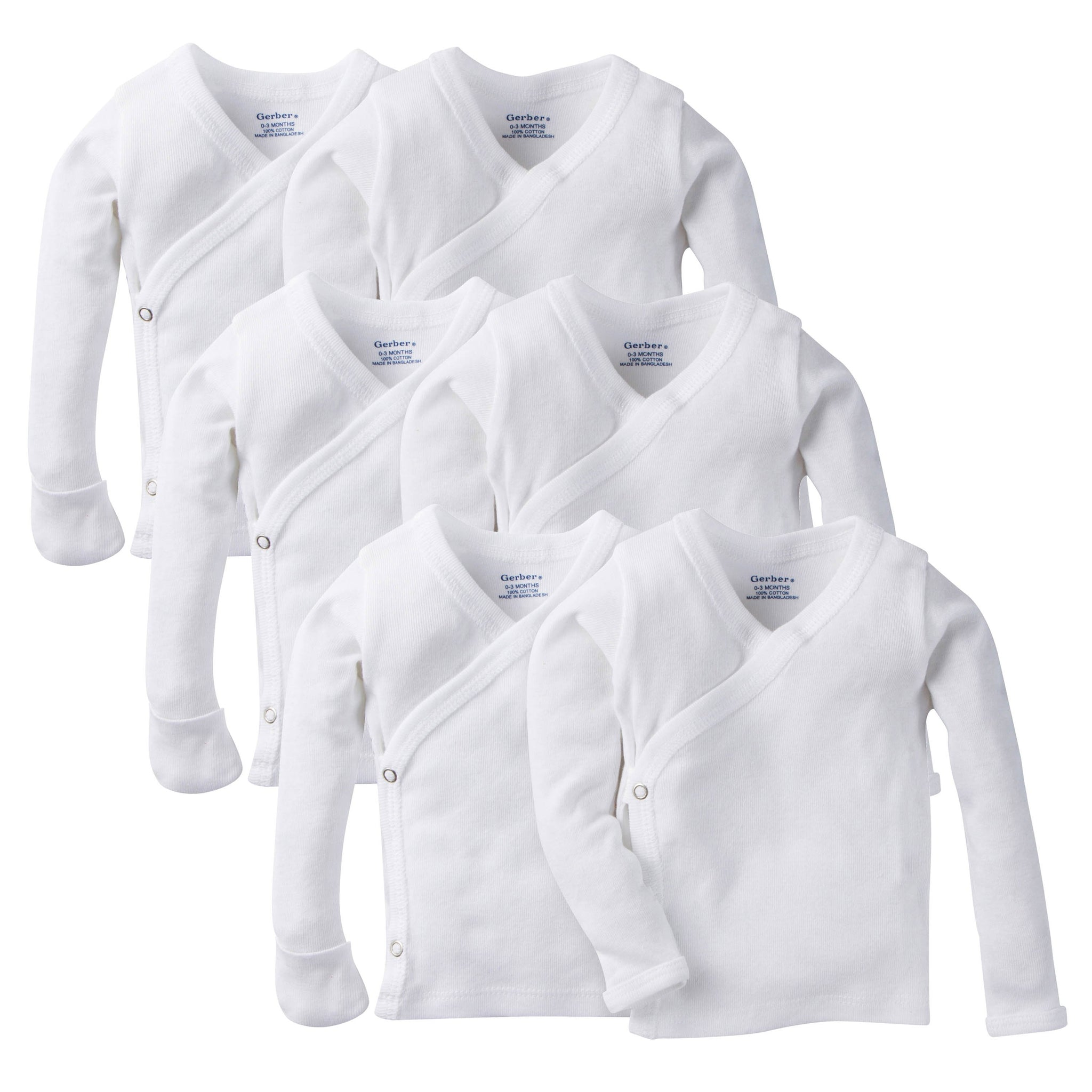6-Pack White Long-Sleeve Side-Snap Mitten-Cuff Shirts