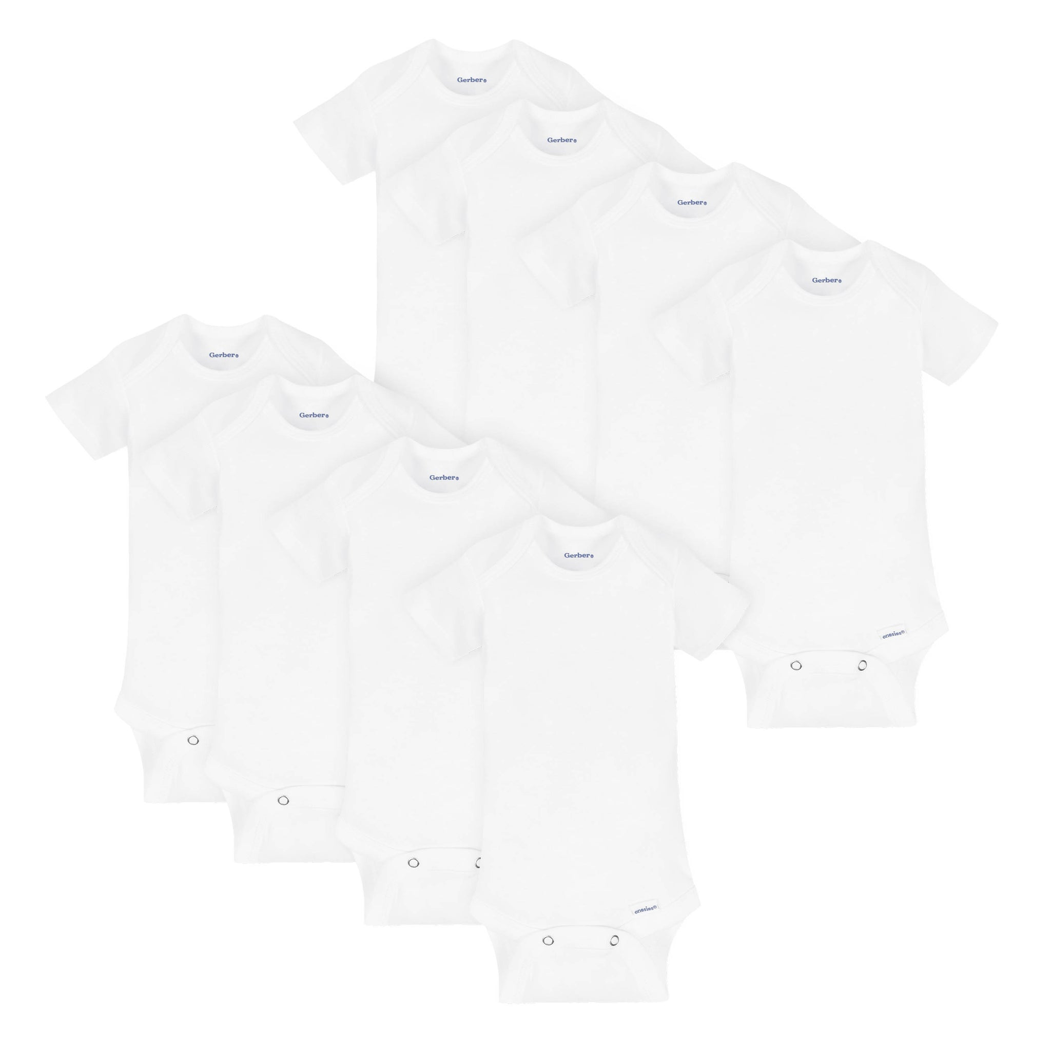 8-Pack White Short-Sleeve Onesies Bodysuits