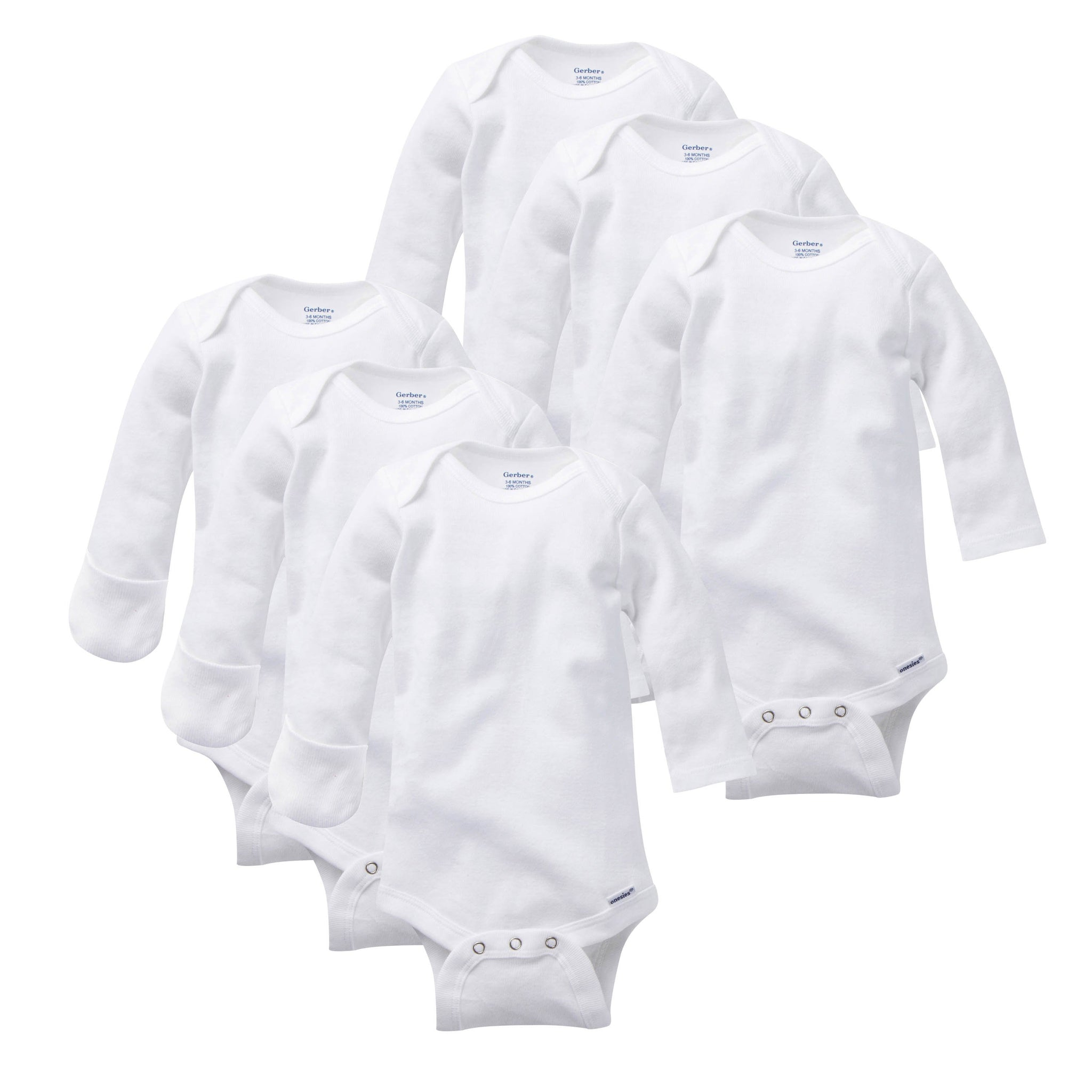 6-Pack White Long-Sleeve Mitten-Cuff Onesies Bodysuits-Gerber Childrenswear